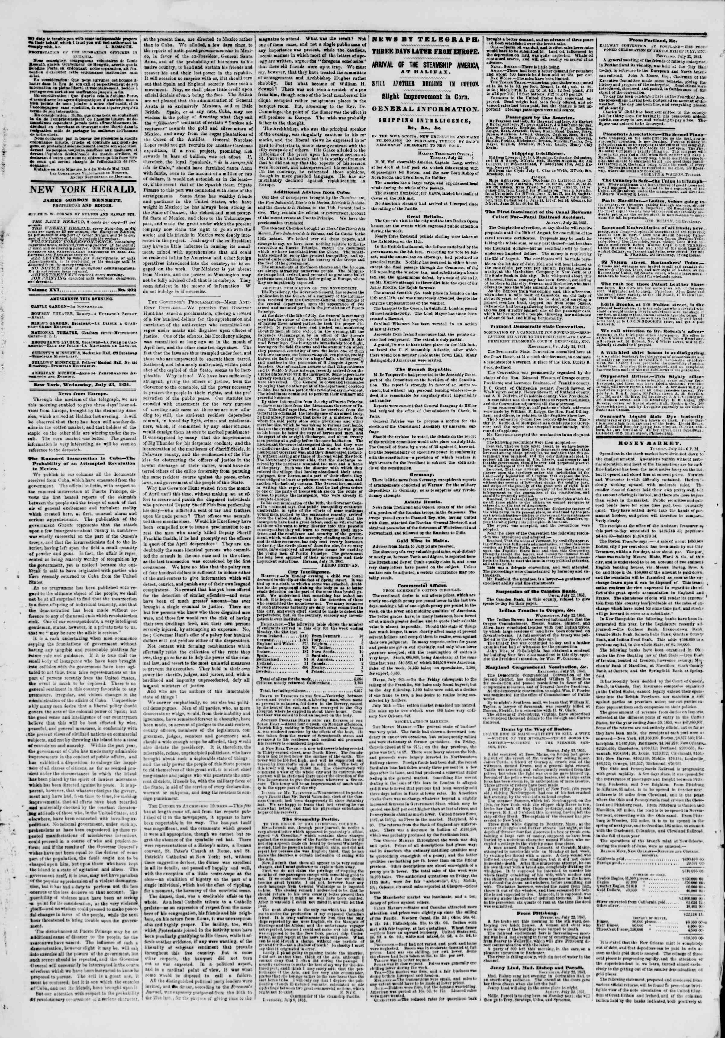 Newspaper of The New York Herald dated July 23, 1851 Page 2