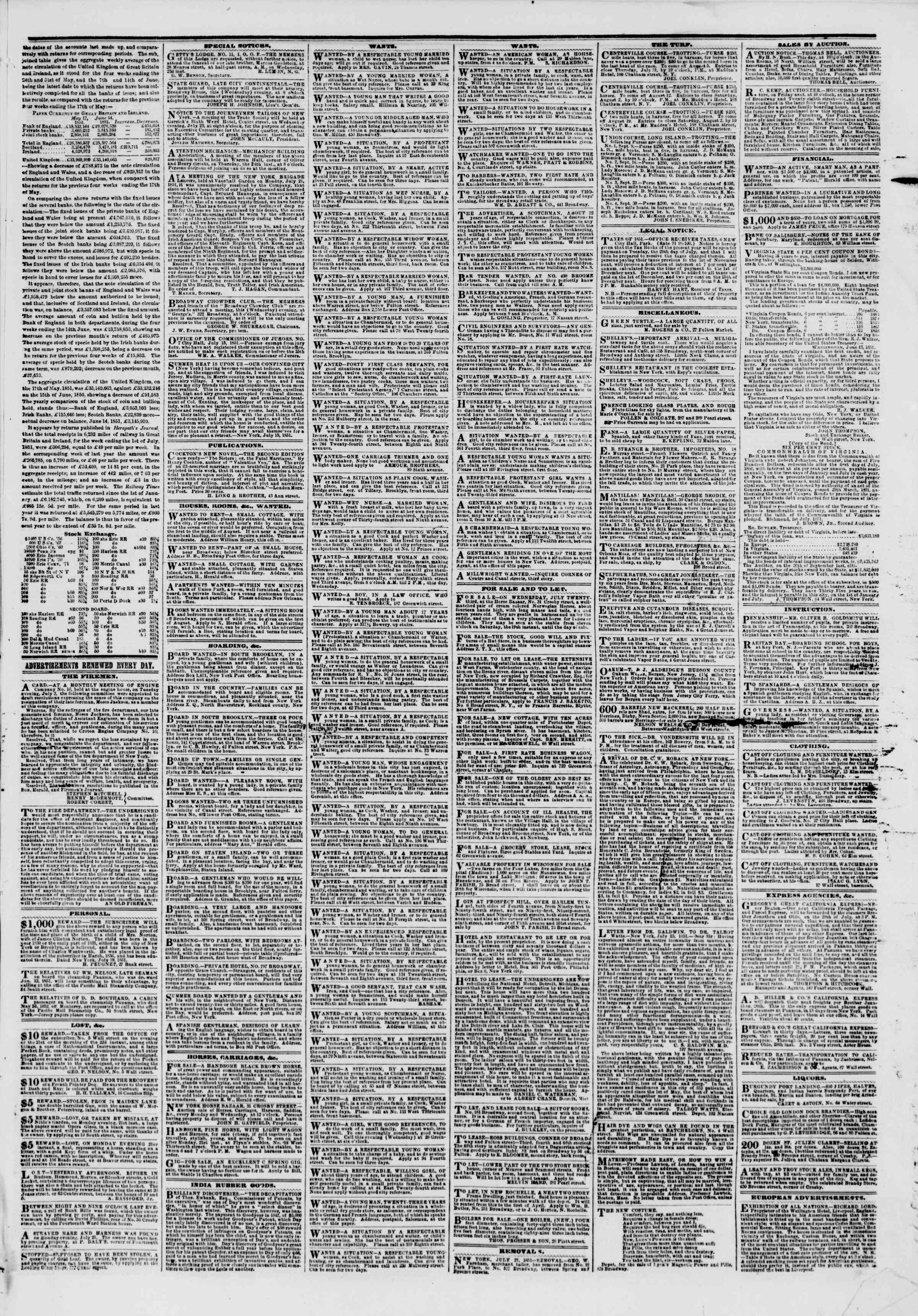 Newspaper of The New York Herald dated July 23, 1851 Page 3