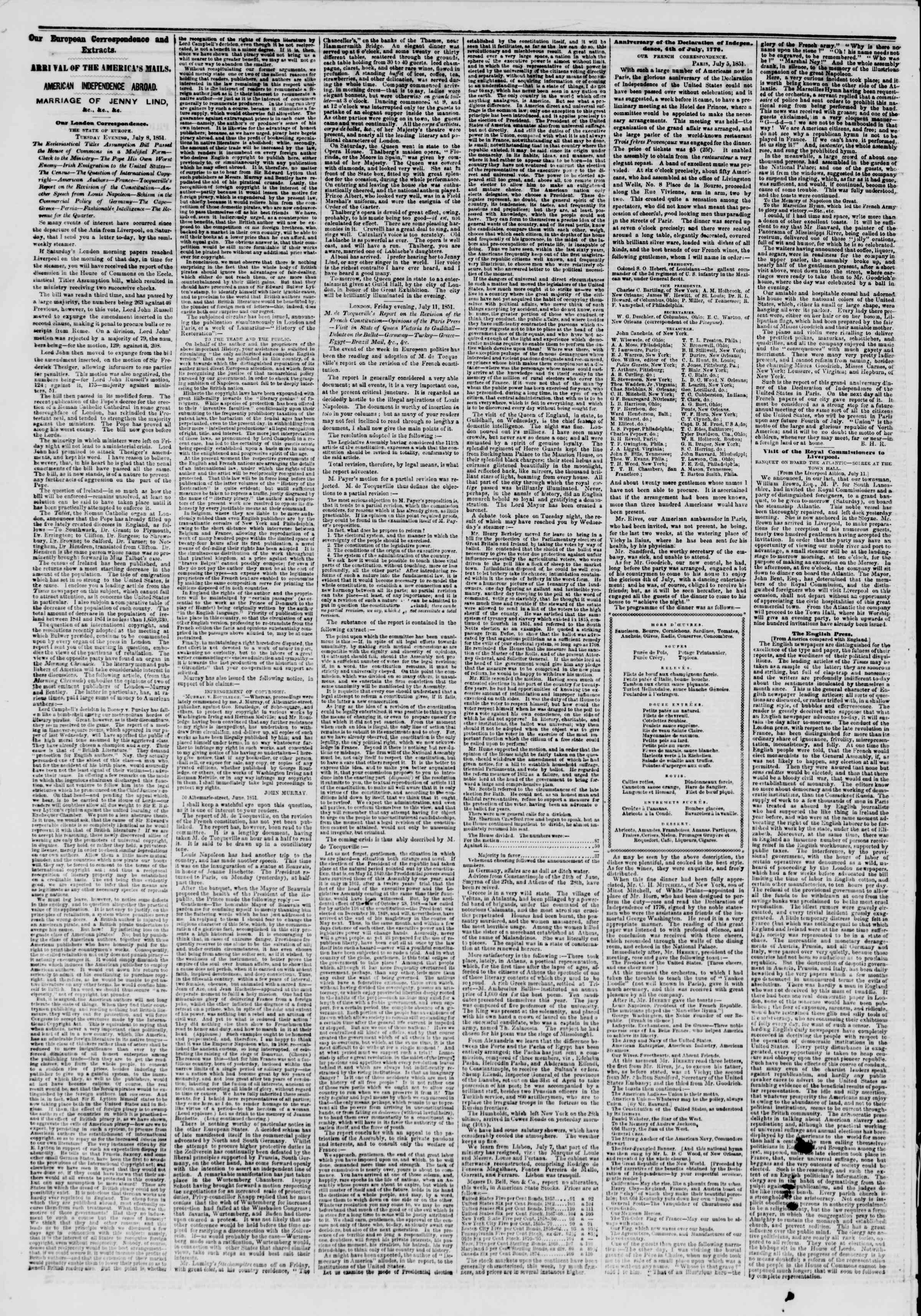 Newspaper of The New York Herald dated July 26, 1851 Page 2