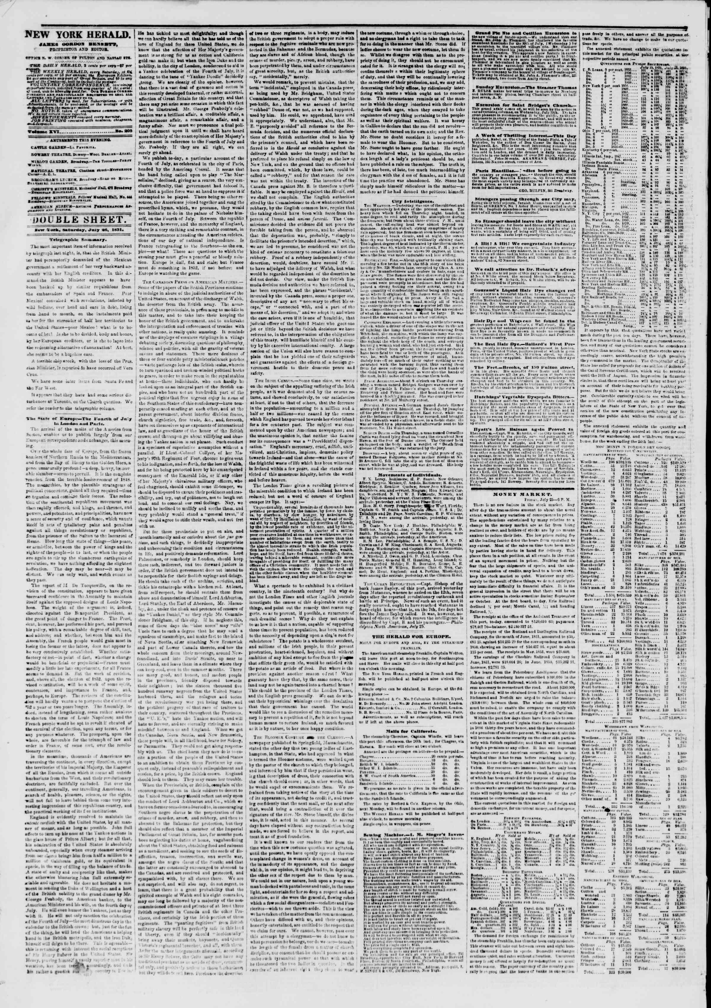 Newspaper of The New York Herald dated July 26, 1851 Page 4