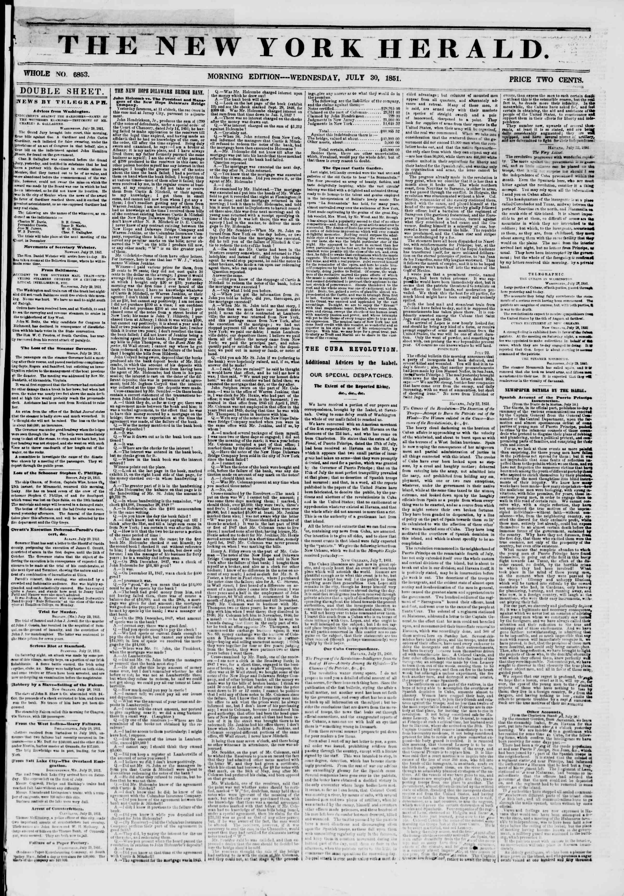 Newspaper of The New York Herald dated July 30, 1851 Page 1