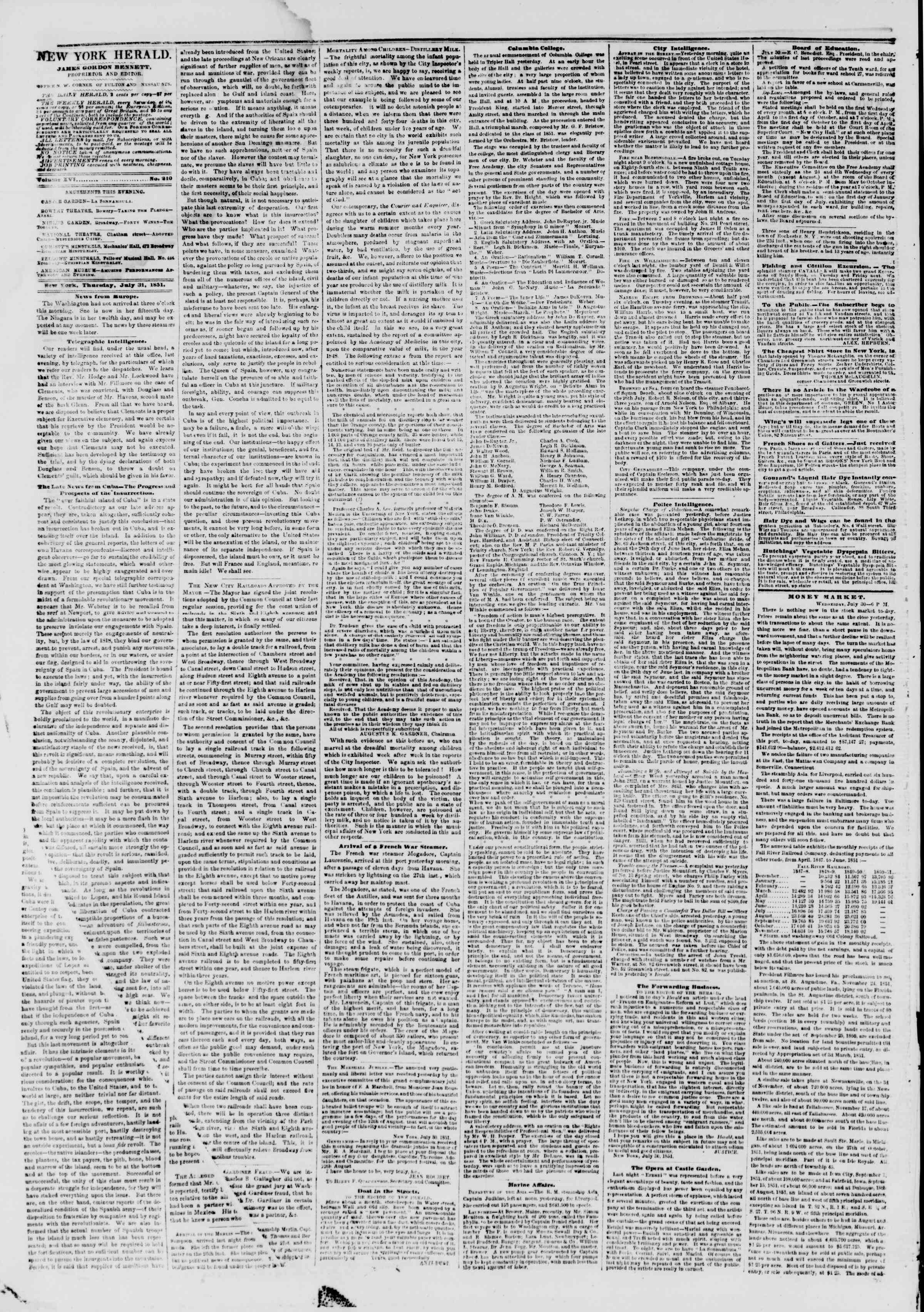 Newspaper of The New York Herald dated July 31, 1851 Page 2