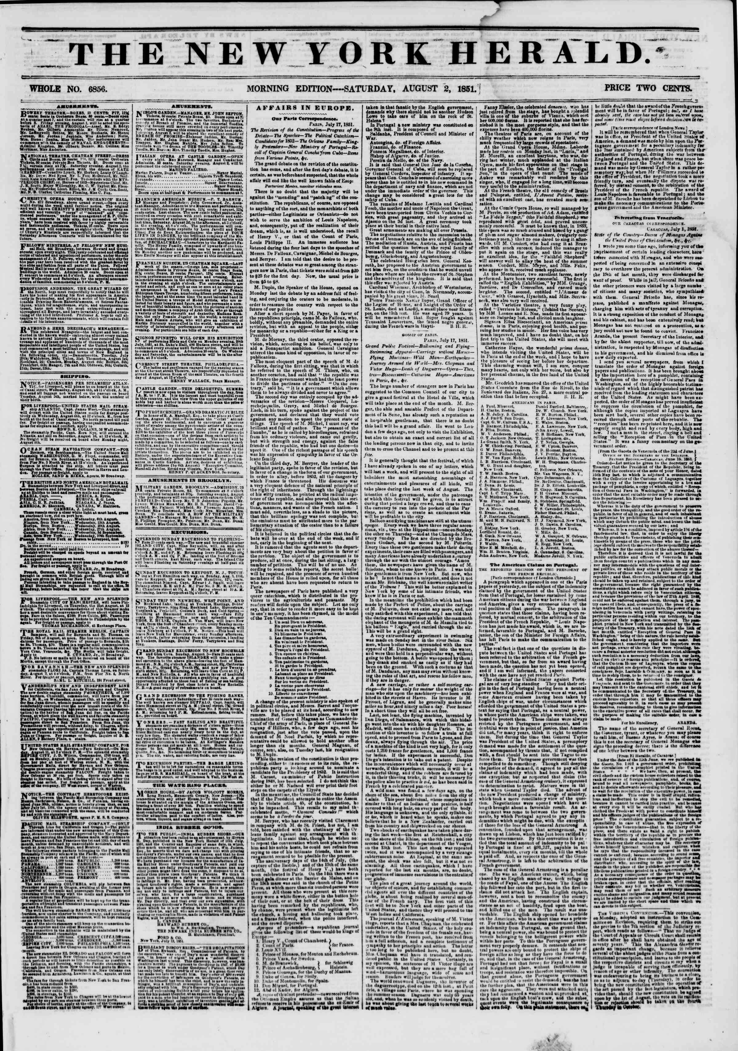Newspaper of The New York Herald dated August 2, 1851 Page 1