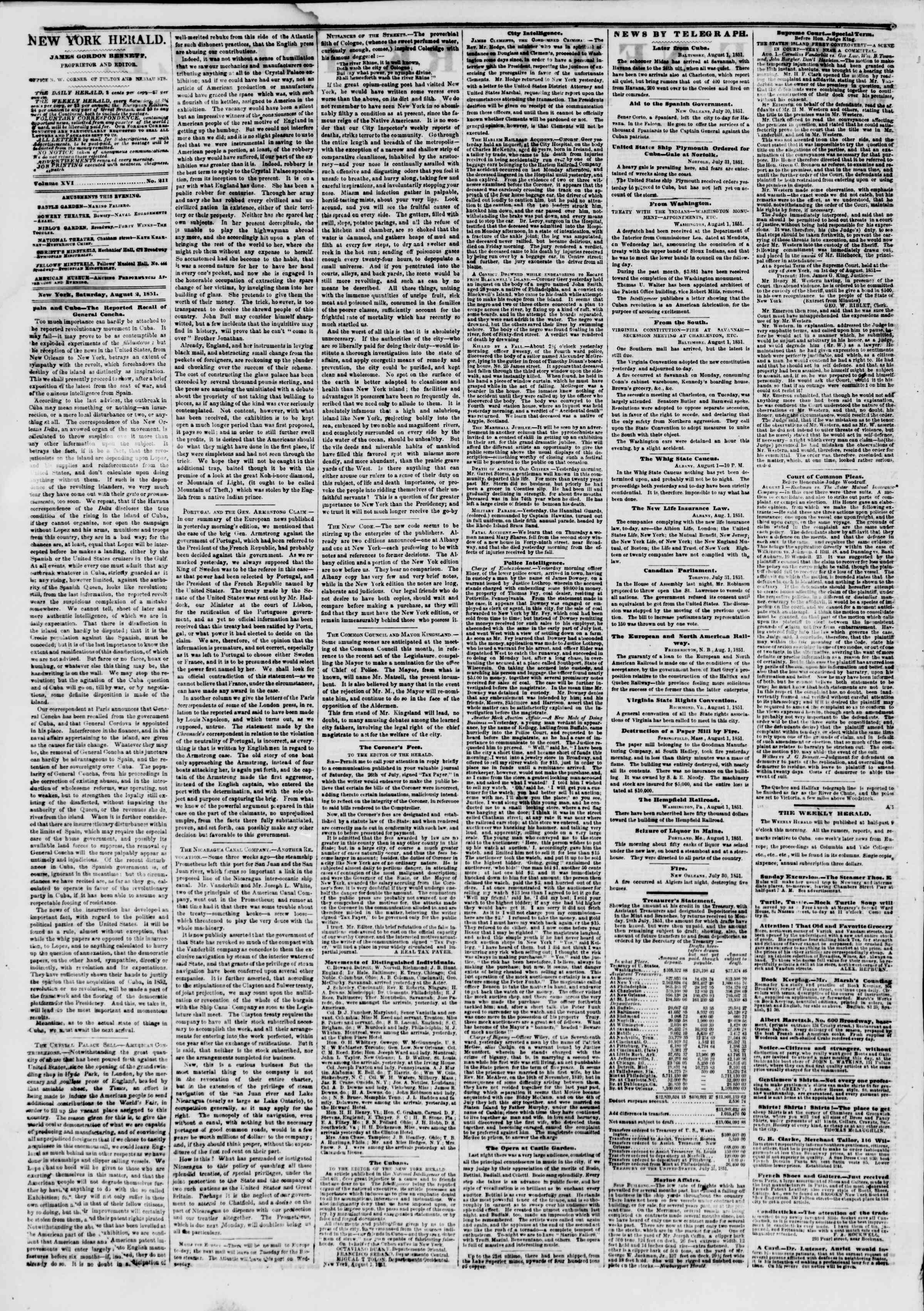 Newspaper of The New York Herald dated August 2, 1851 Page 2