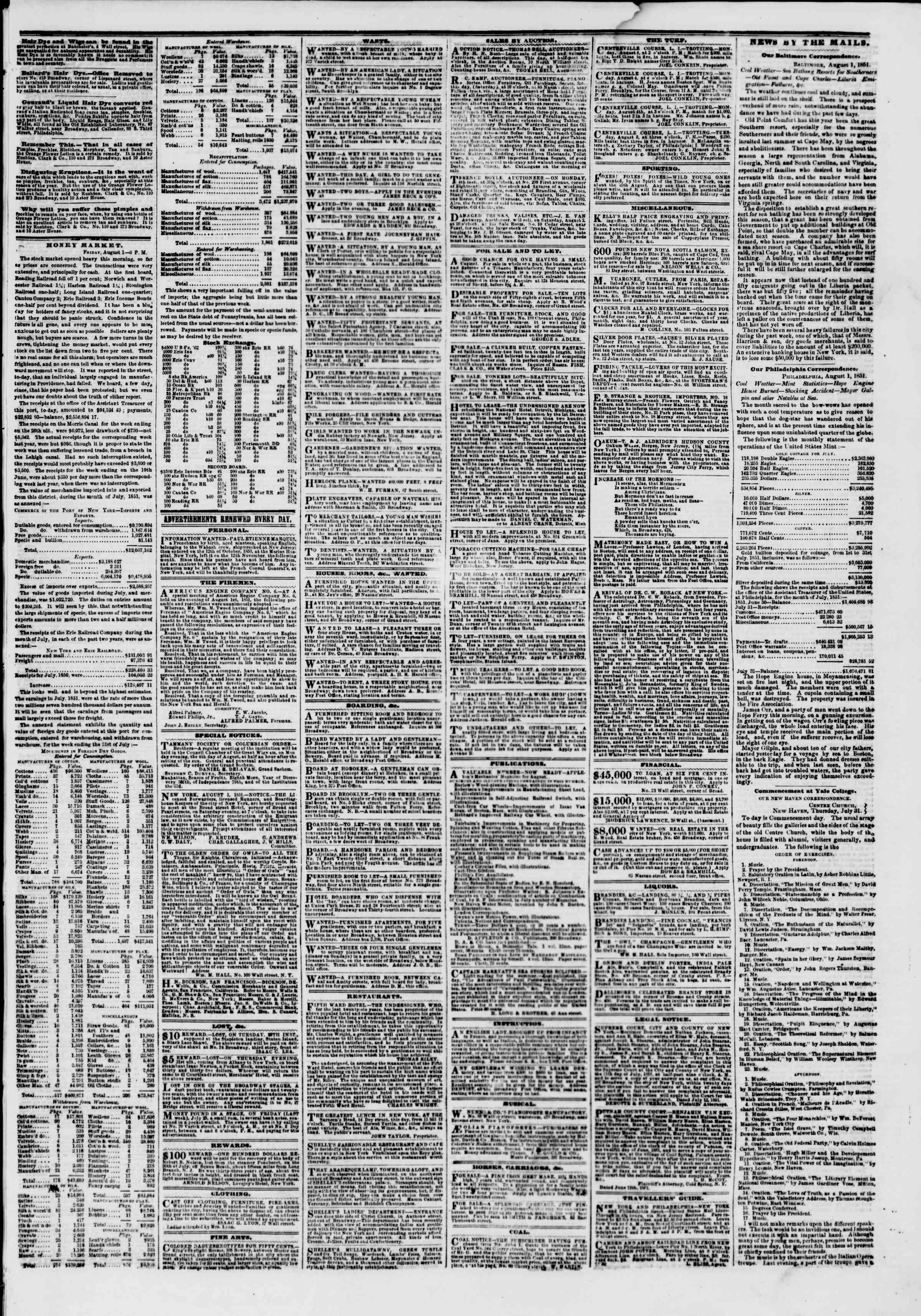 2 Ağustos 1851 tarihli The New York Herald Gazetesi Sayfa 3