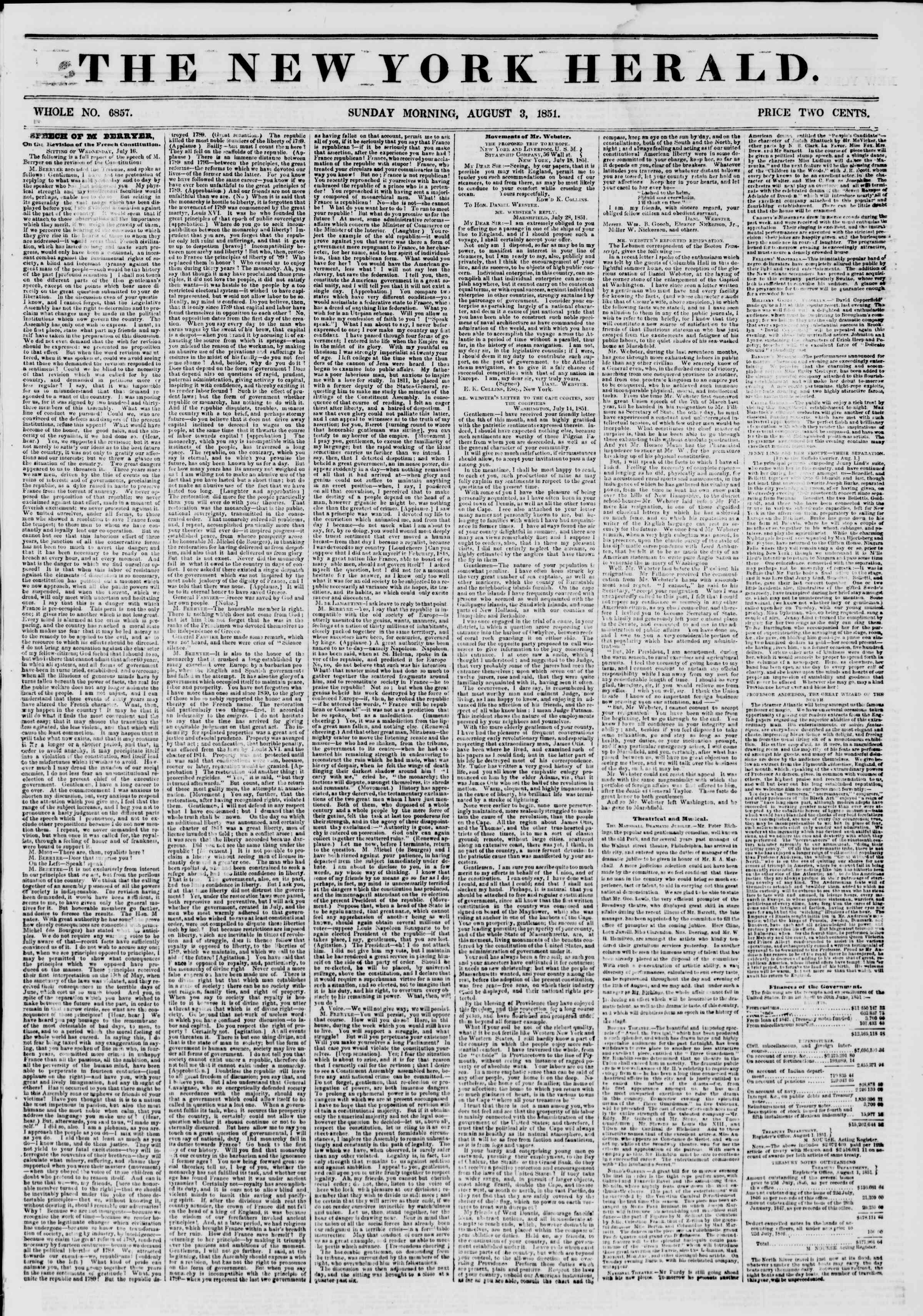 Newspaper of The New York Herald dated August 3, 1851 Page 1