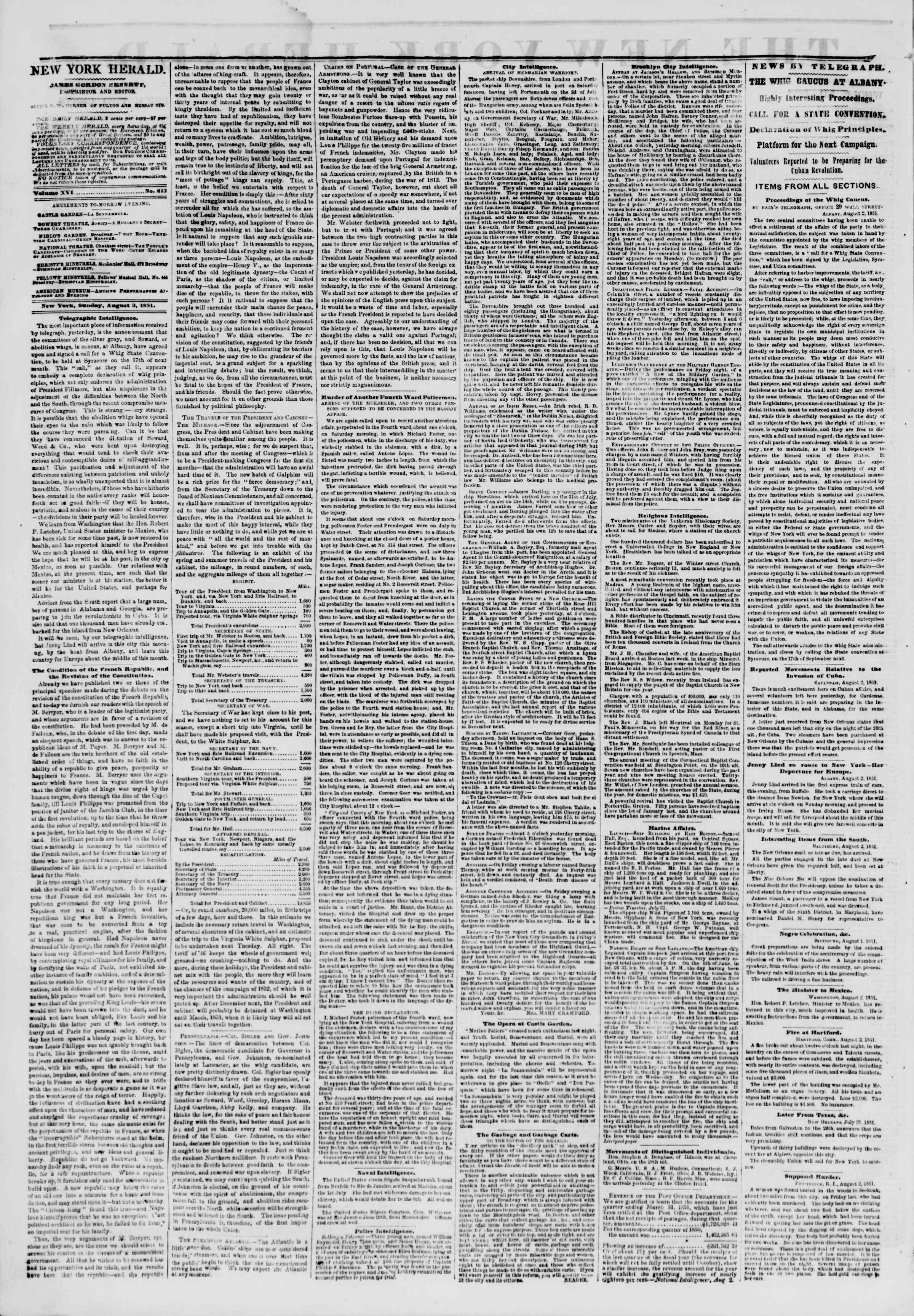 Newspaper of The New York Herald dated August 3, 1851 Page 2