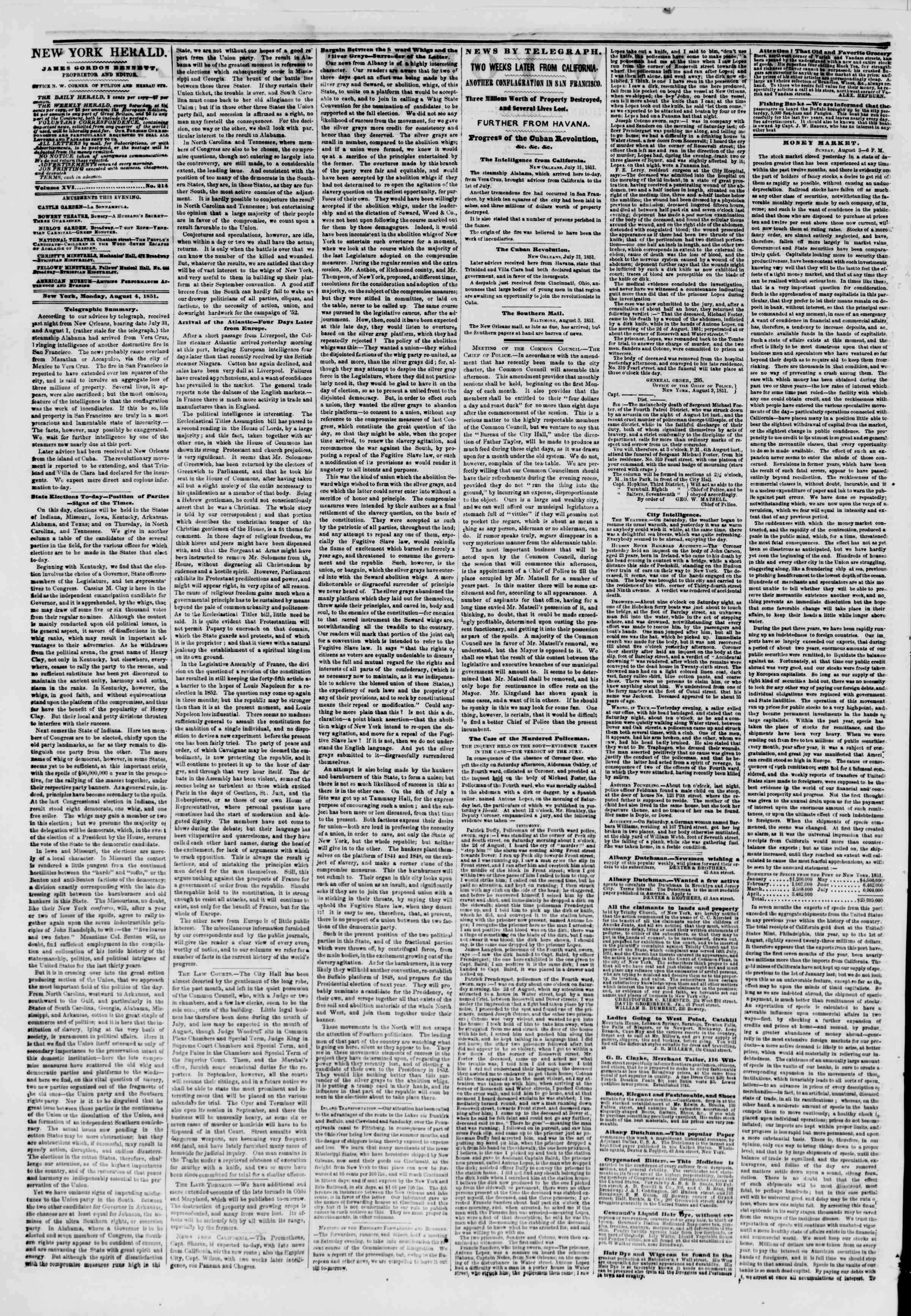 Newspaper of The New York Herald dated August 4, 1851 Page 2