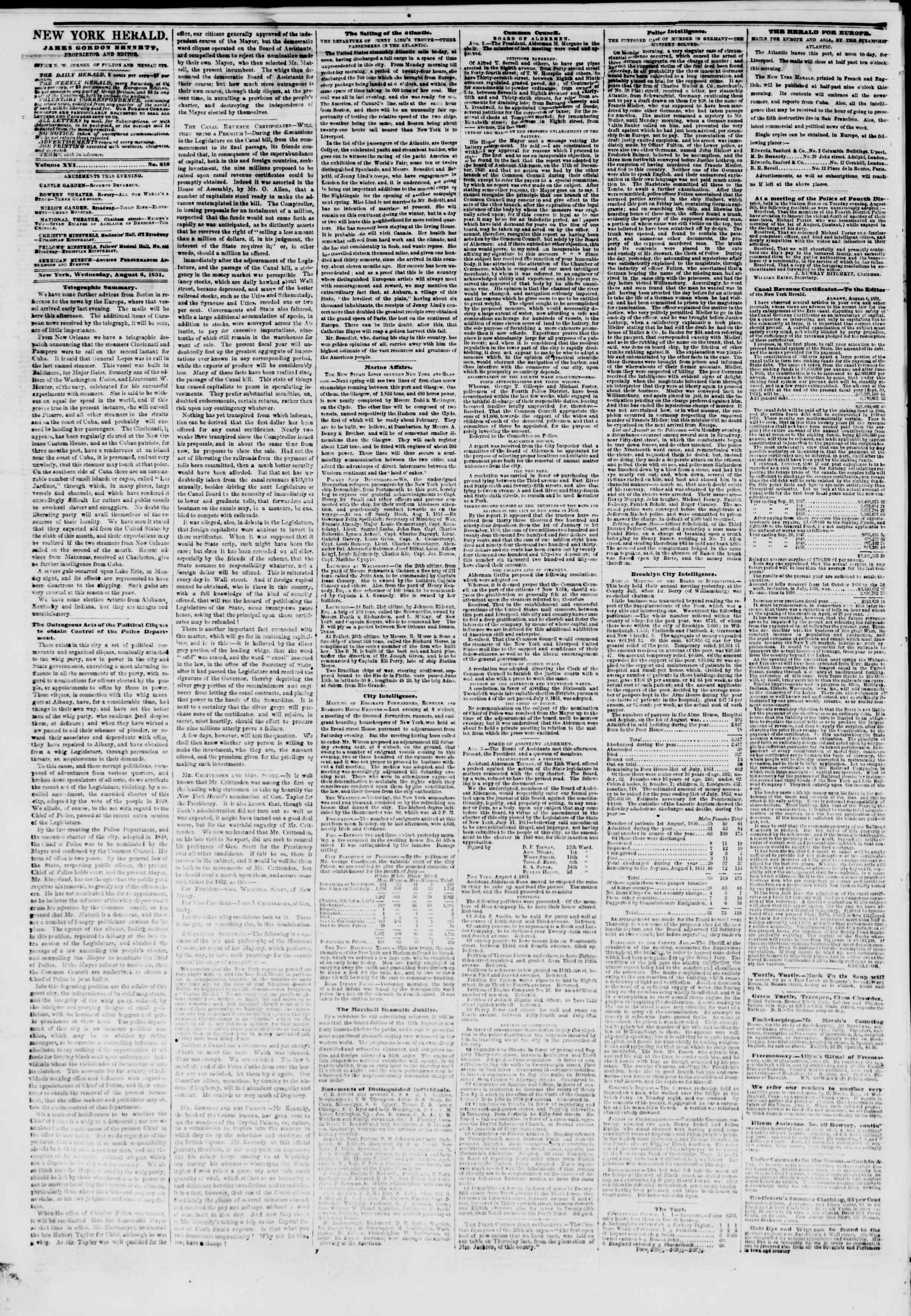 Newspaper of The New York Herald dated August 6, 1851 Page 2