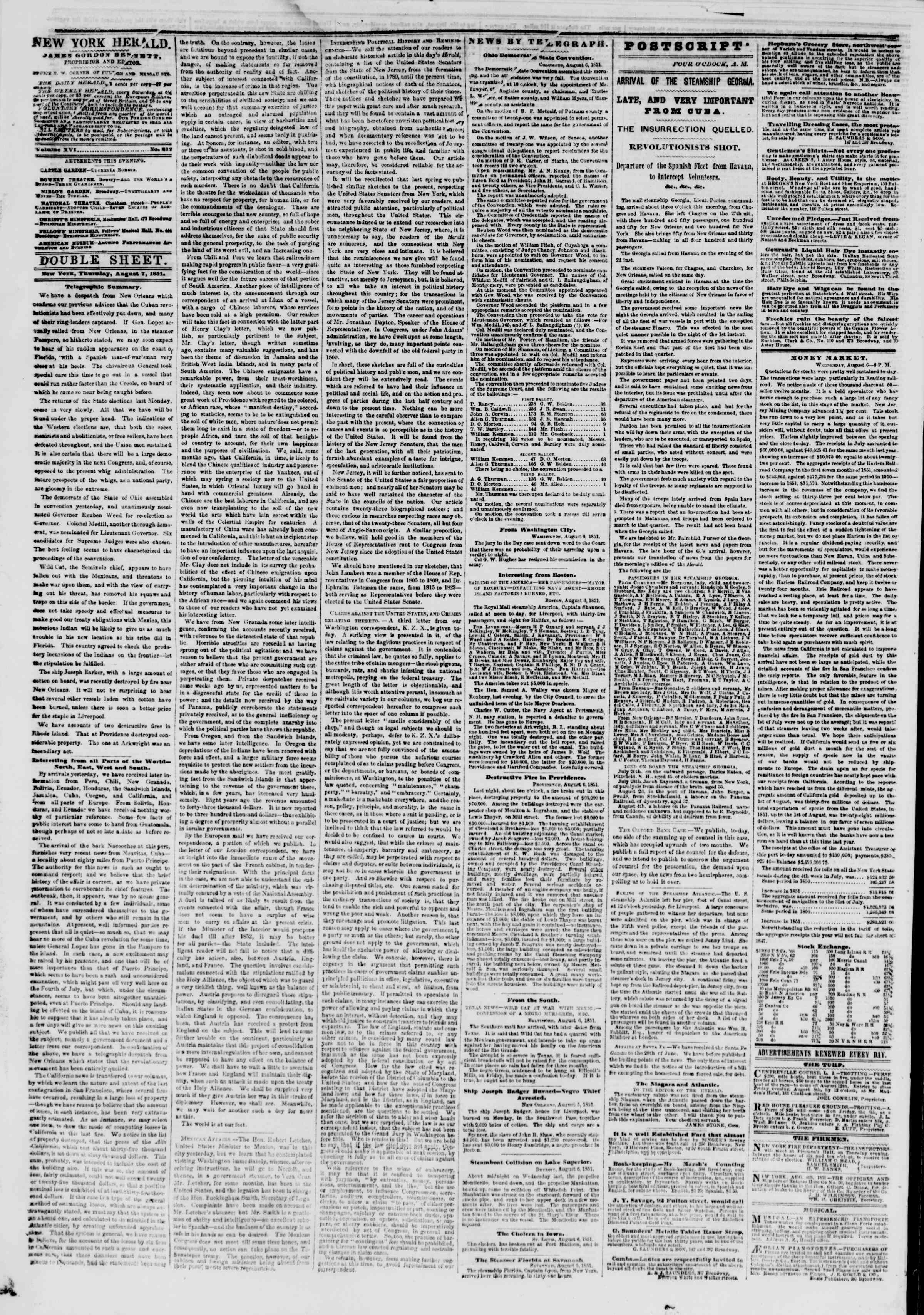 Newspaper of The New York Herald dated August 6, 1851 Page 4