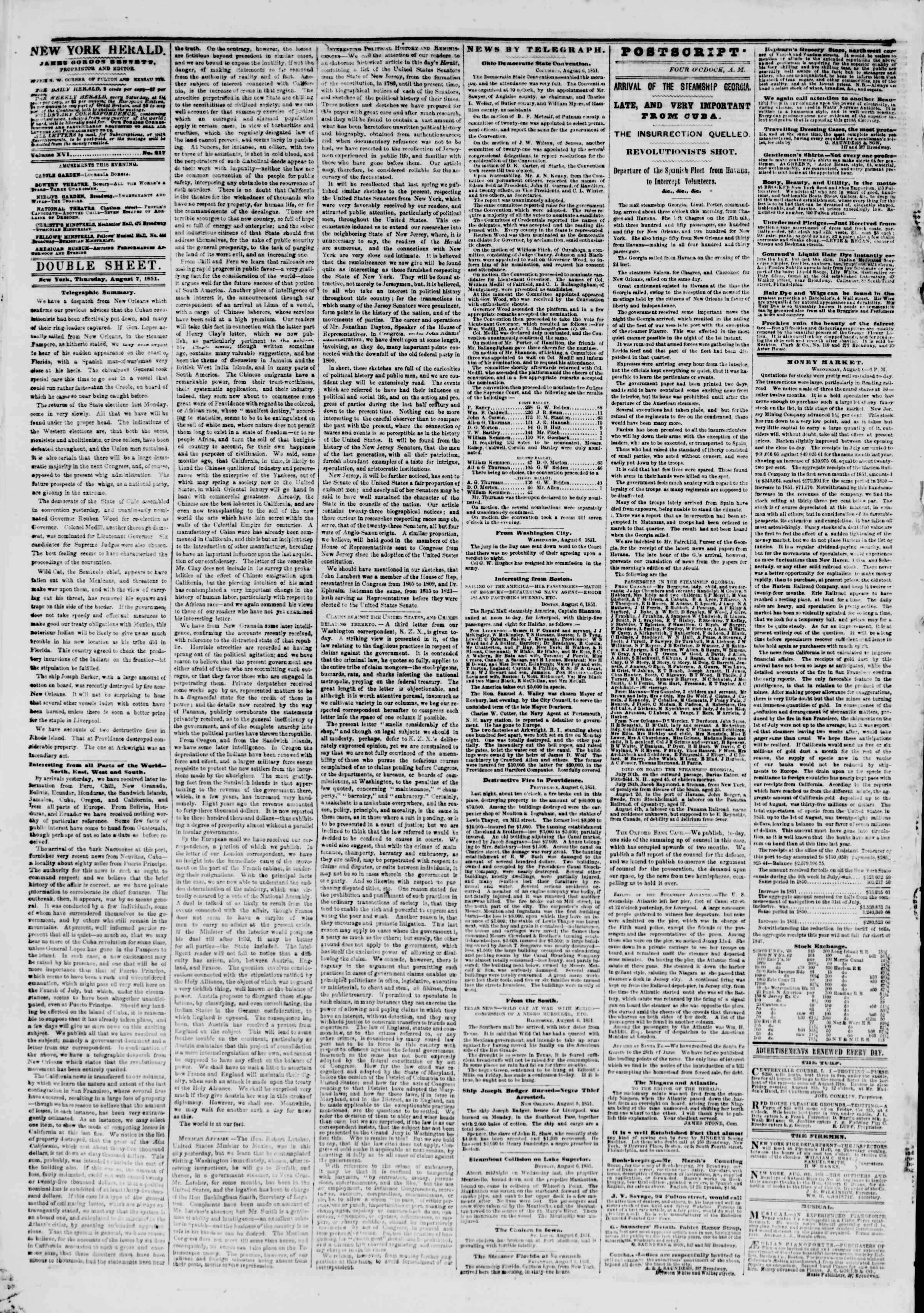 Newspaper of The New York Herald dated August 7, 1851 Page 4