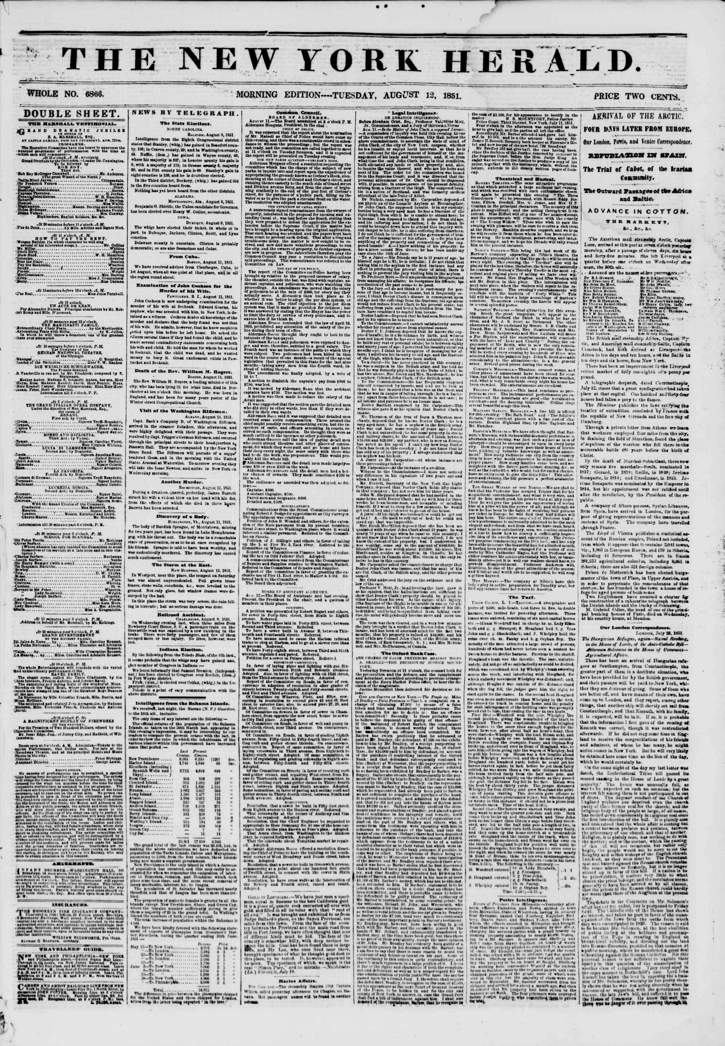 Newspaper of The New York Herald dated August 12, 1851 Page 1