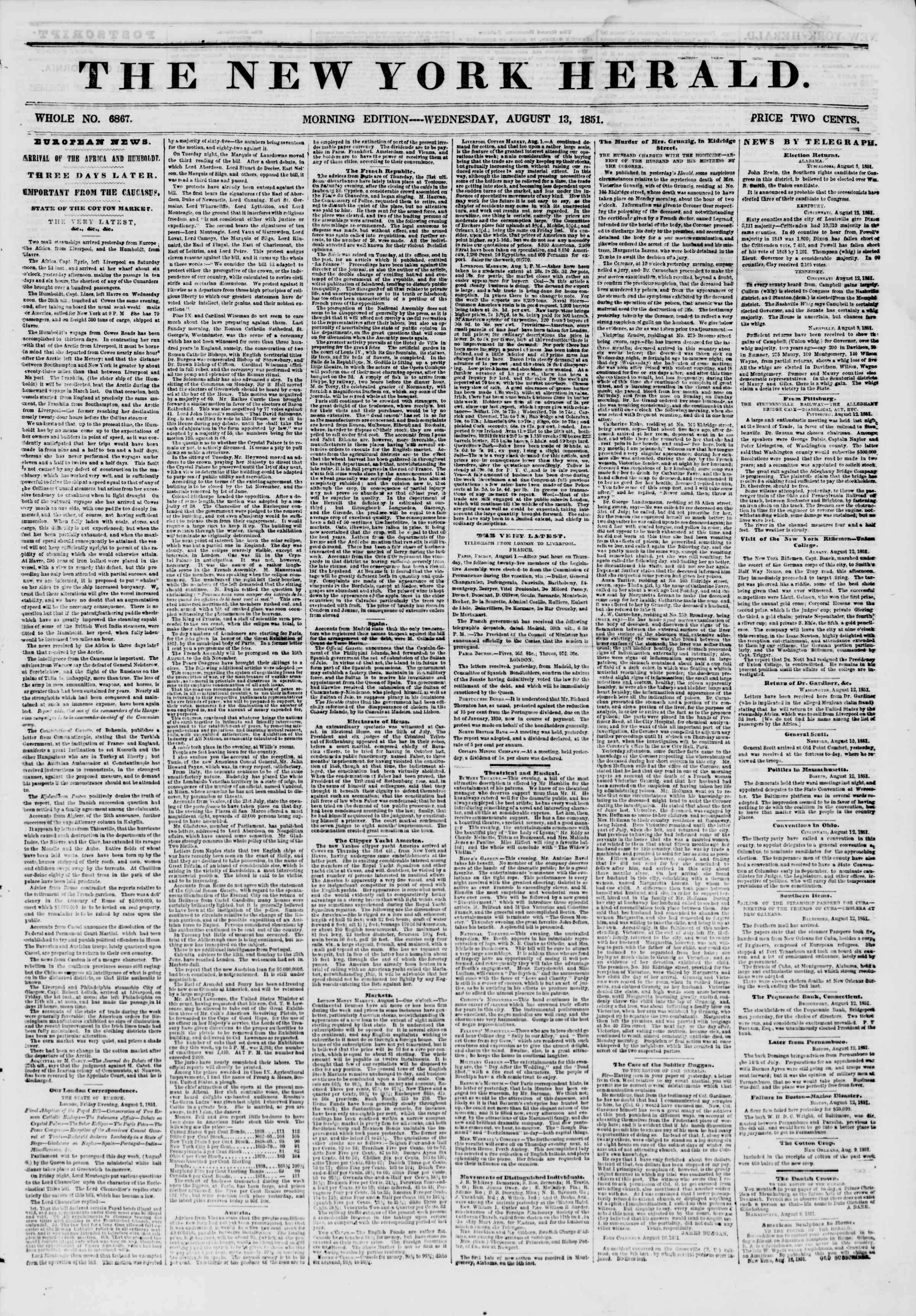 Newspaper of The New York Herald dated August 13, 1851 Page 1