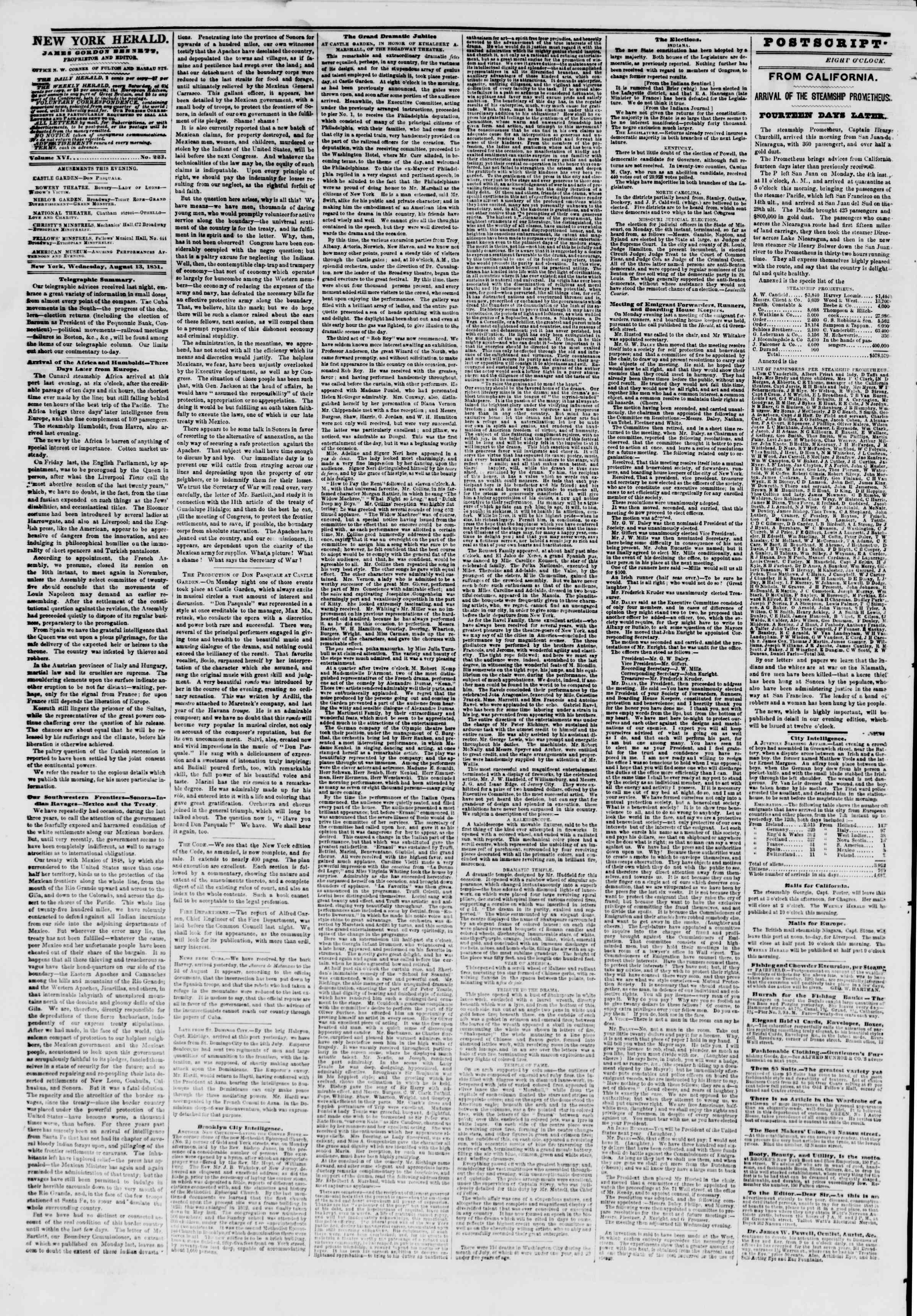 13 Ağustos 1851 tarihli The New York Herald Gazetesi Sayfa 2
