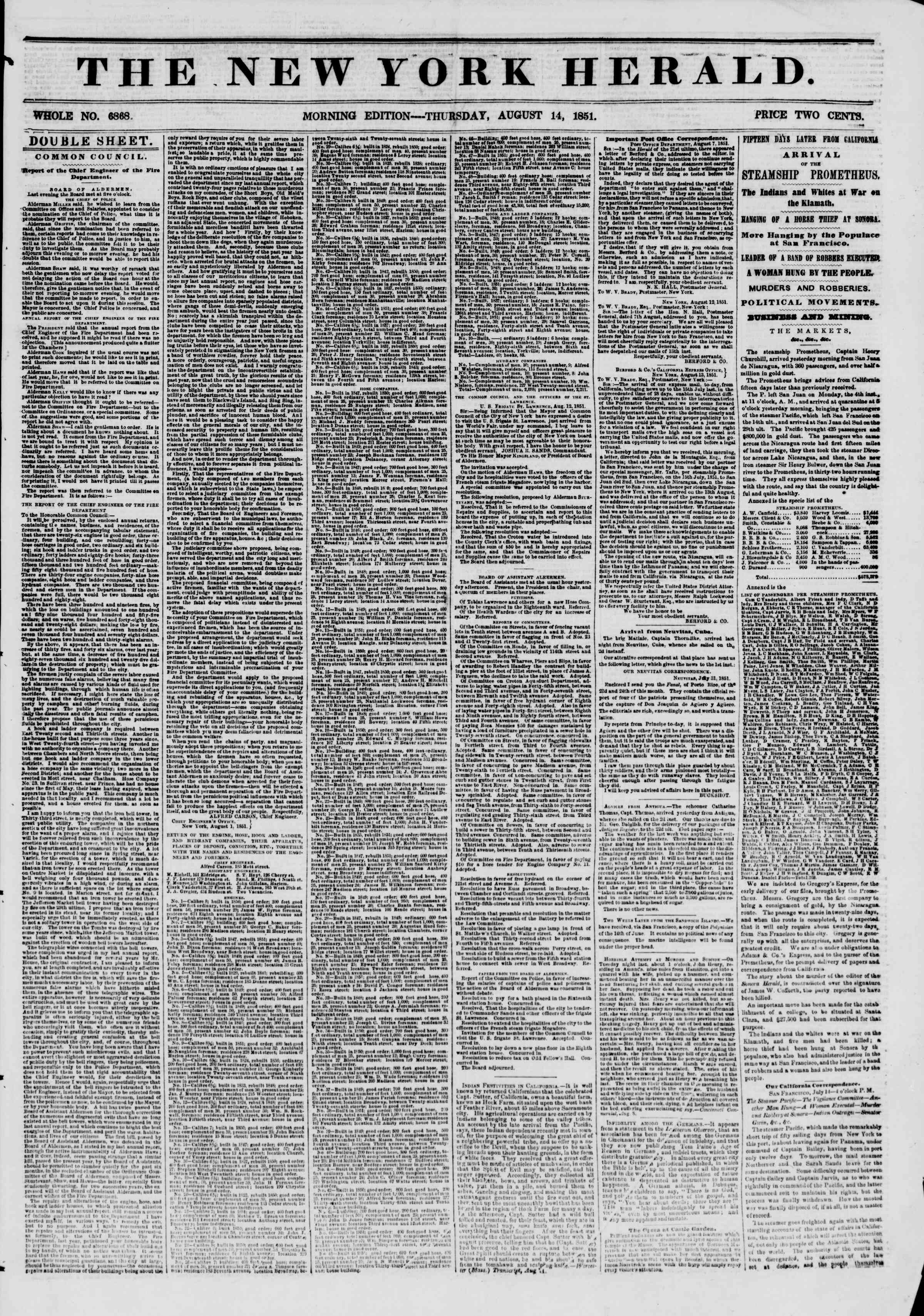 Newspaper of The New York Herald dated August 14, 1851 Page 1