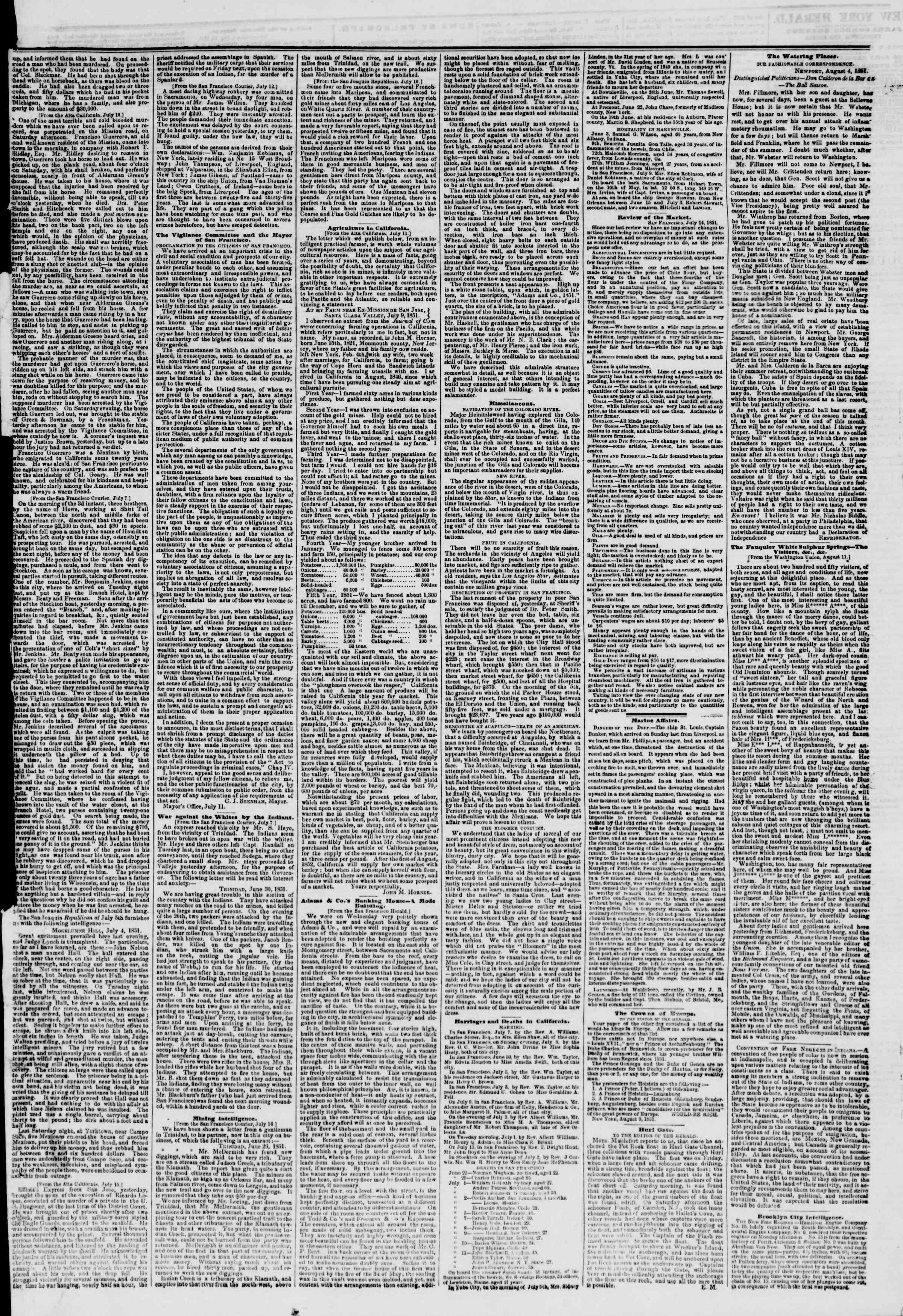 Newspaper of The New York Herald dated August 14, 1851 Page 3