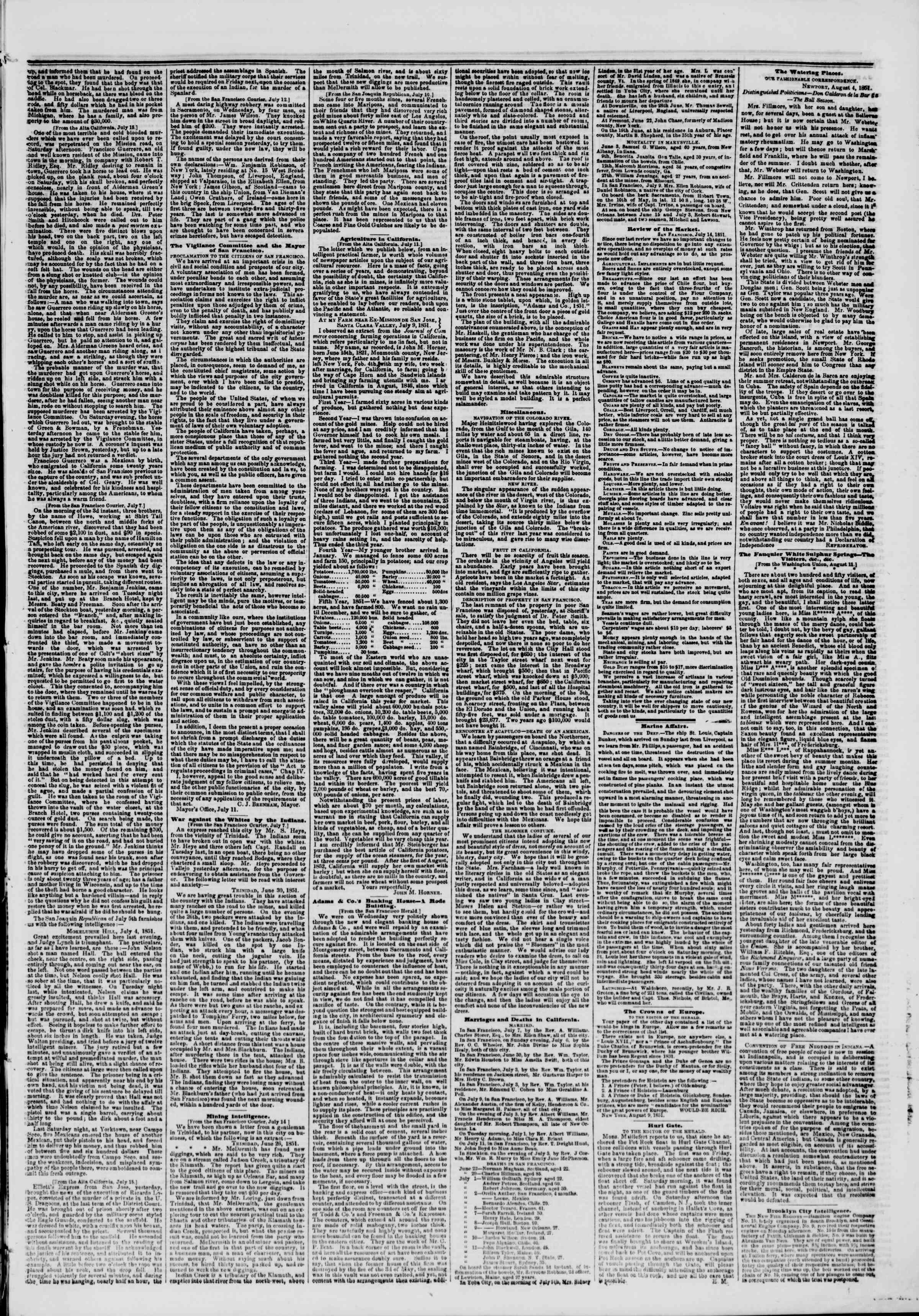 Newspaper of The New York Herald dated August 15, 1851 Page 3