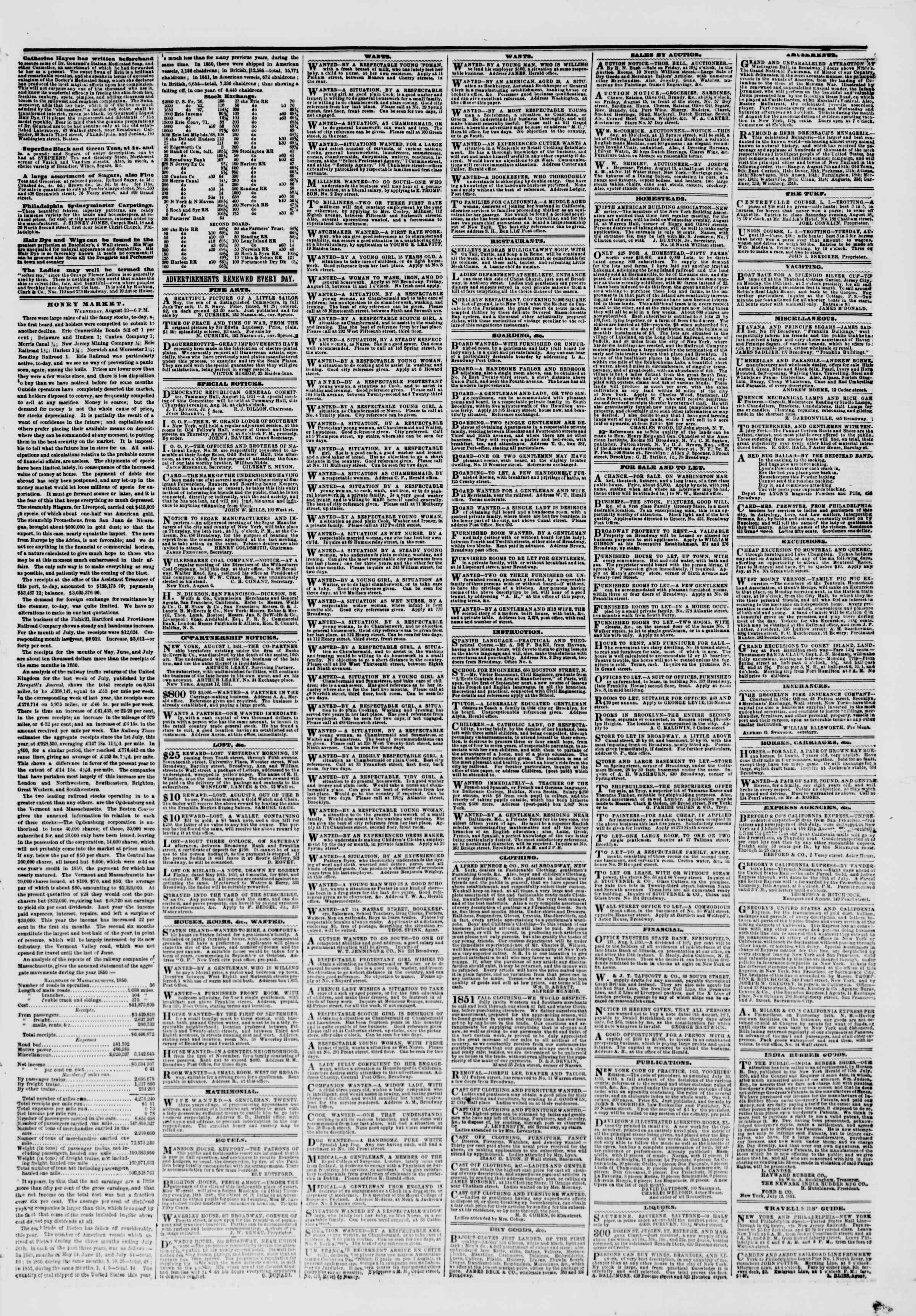 Newspaper of The New York Herald dated August 15, 1851 Page 5