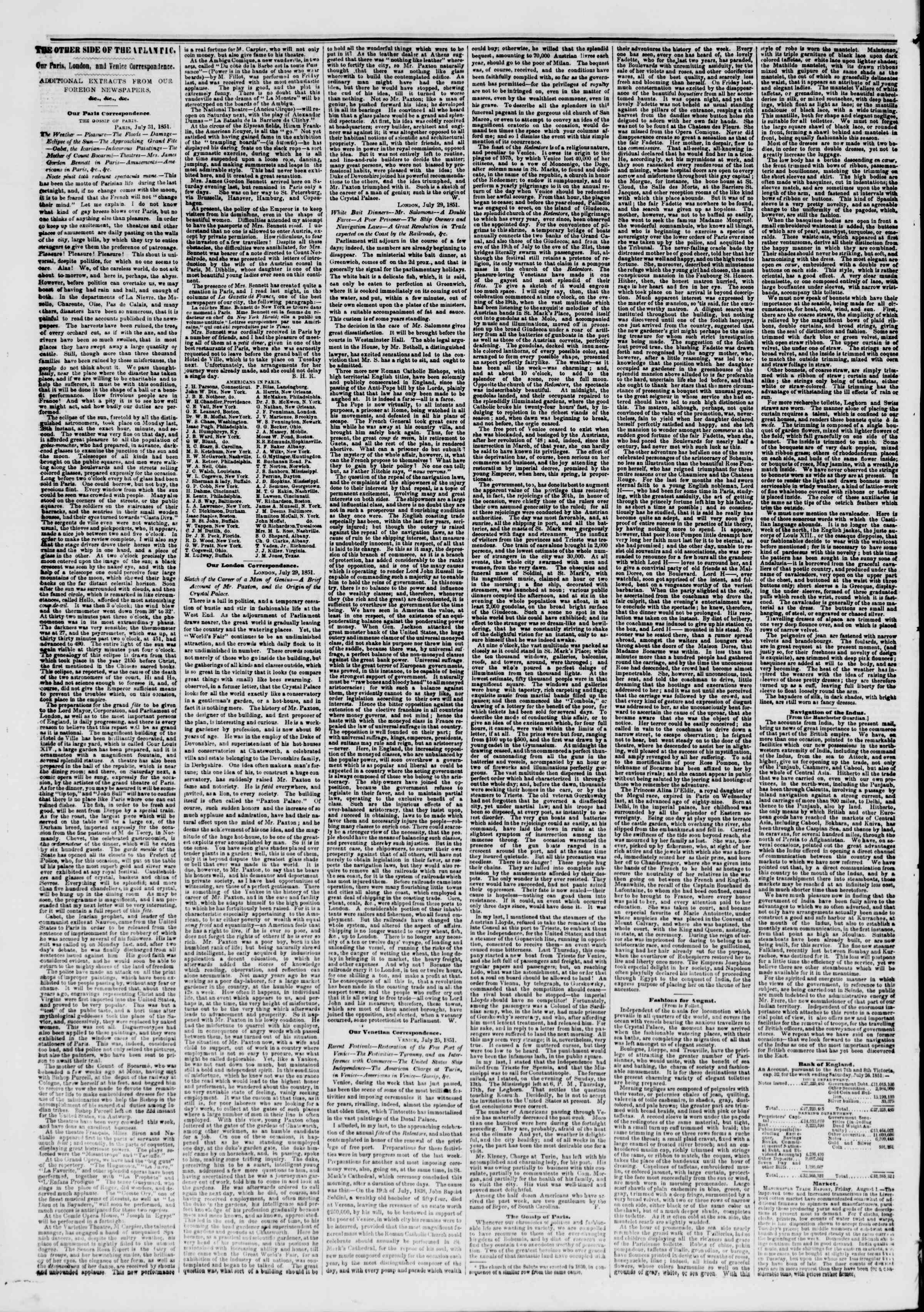 Newspaper of The New York Herald dated August 15, 1851 Page 6