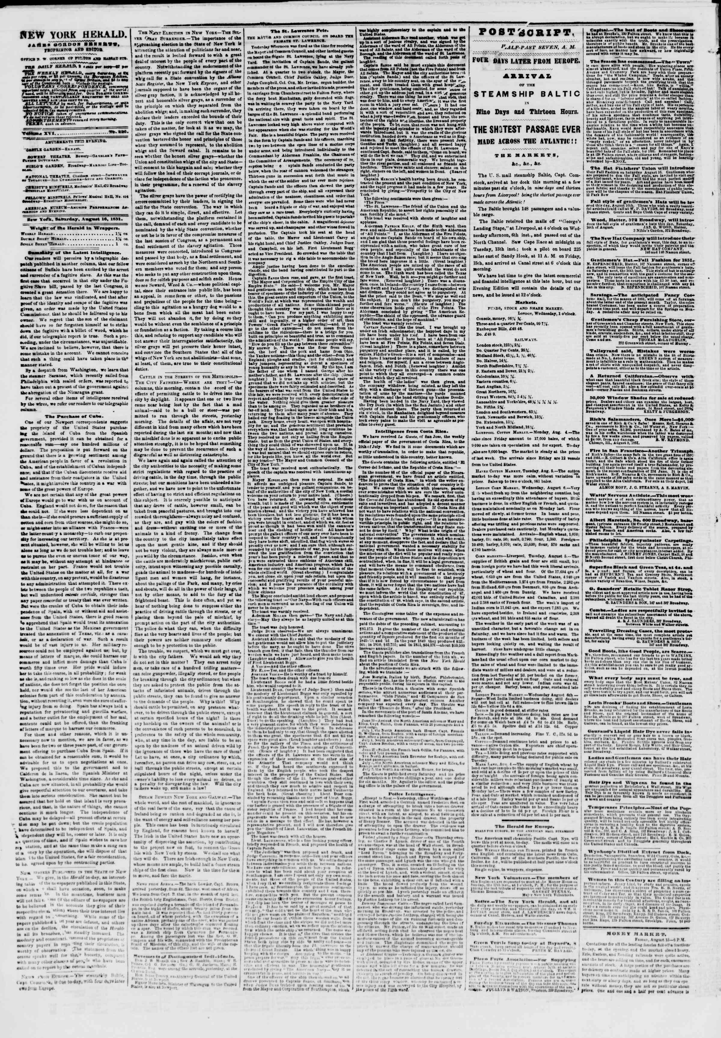 Newspaper of The New York Herald dated August 16, 1851 Page 2