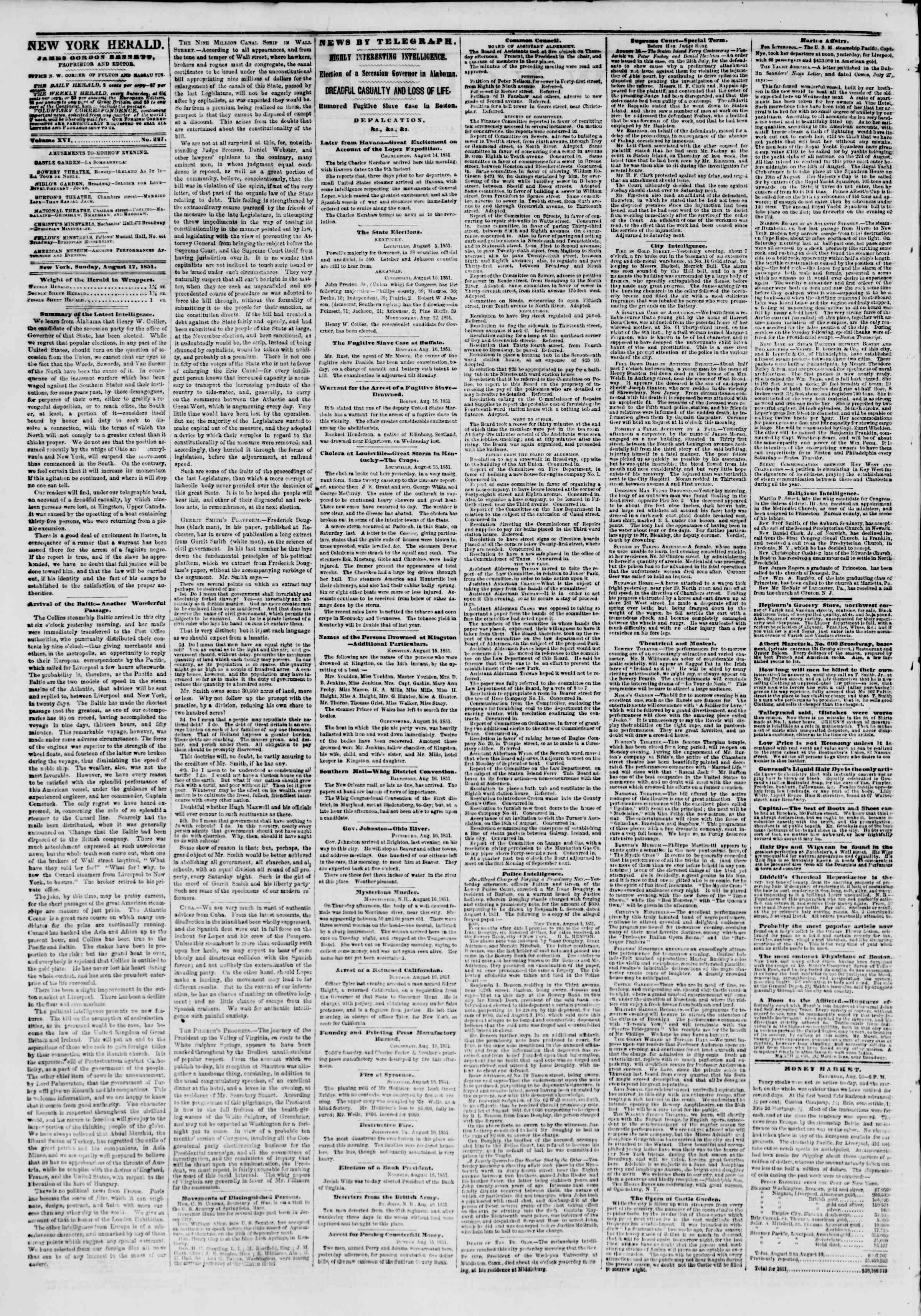 Newspaper of The New York Herald dated August 17, 1851 Page 2