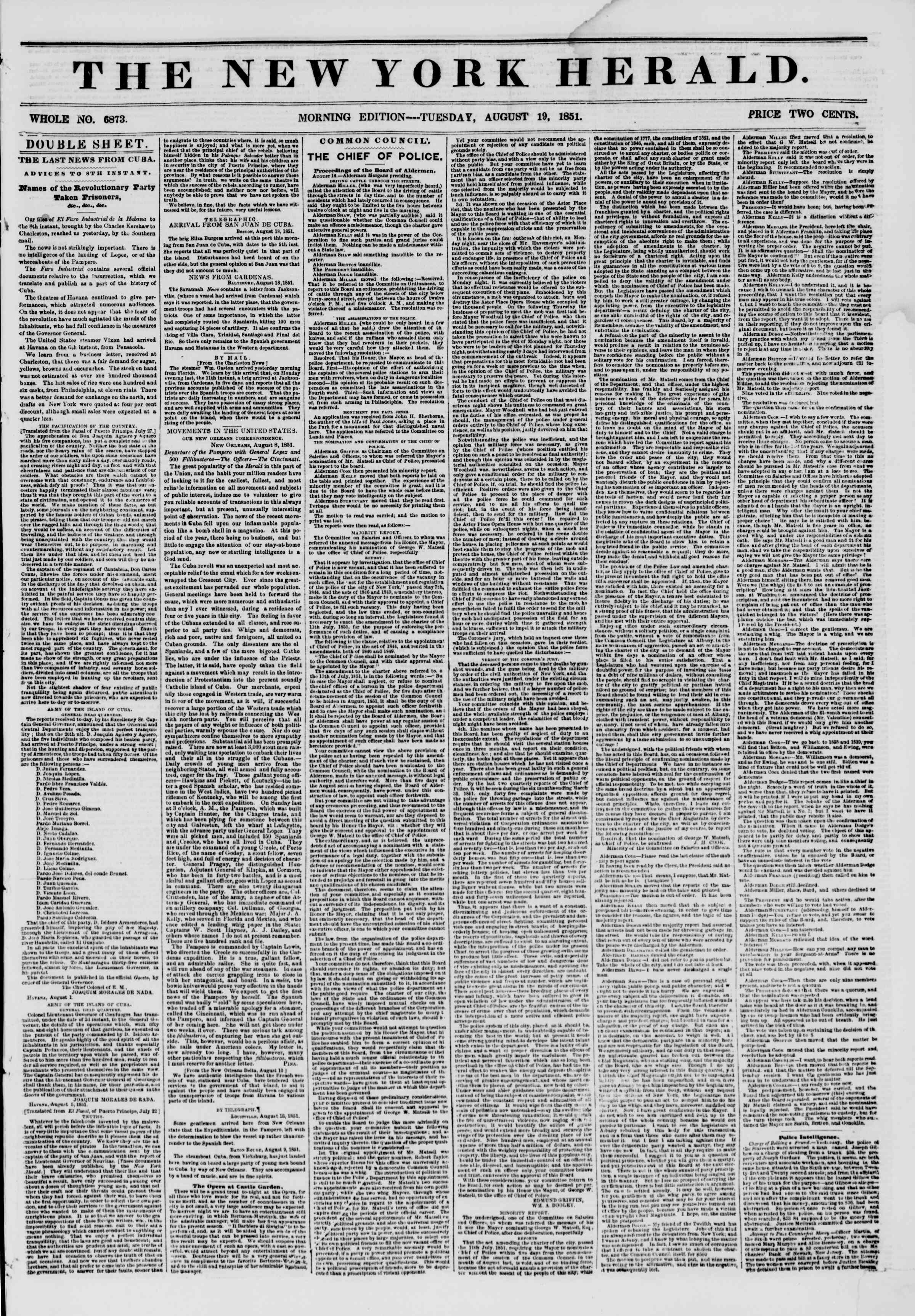 Newspaper of The New York Herald dated August 19, 1851 Page 1