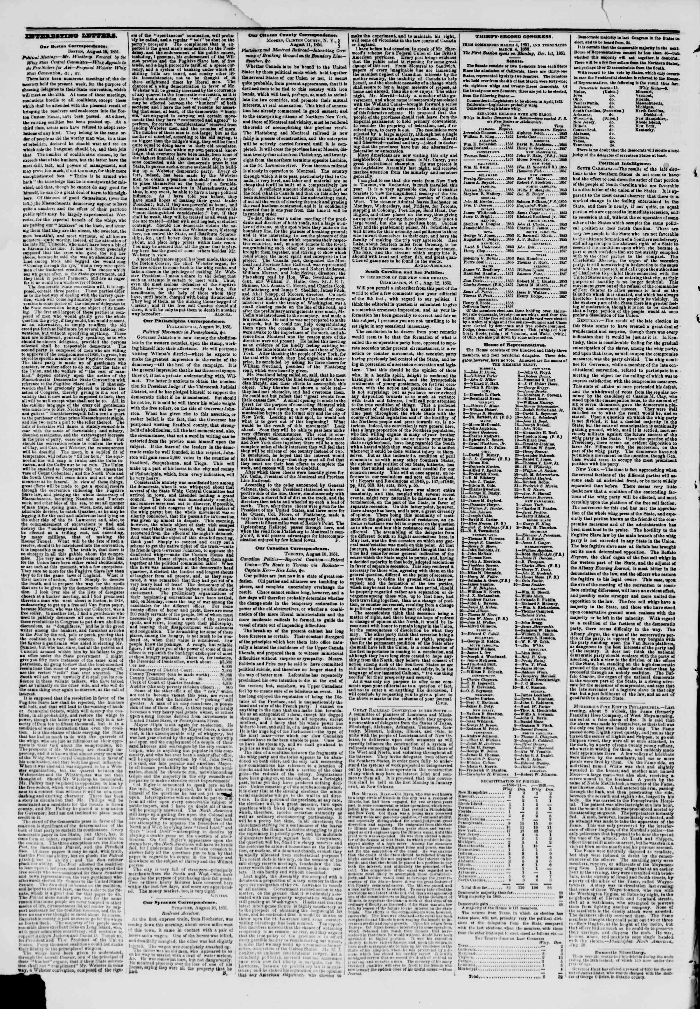 19 Ağustos 1851 tarihli The New York Herald Gazetesi Sayfa 2