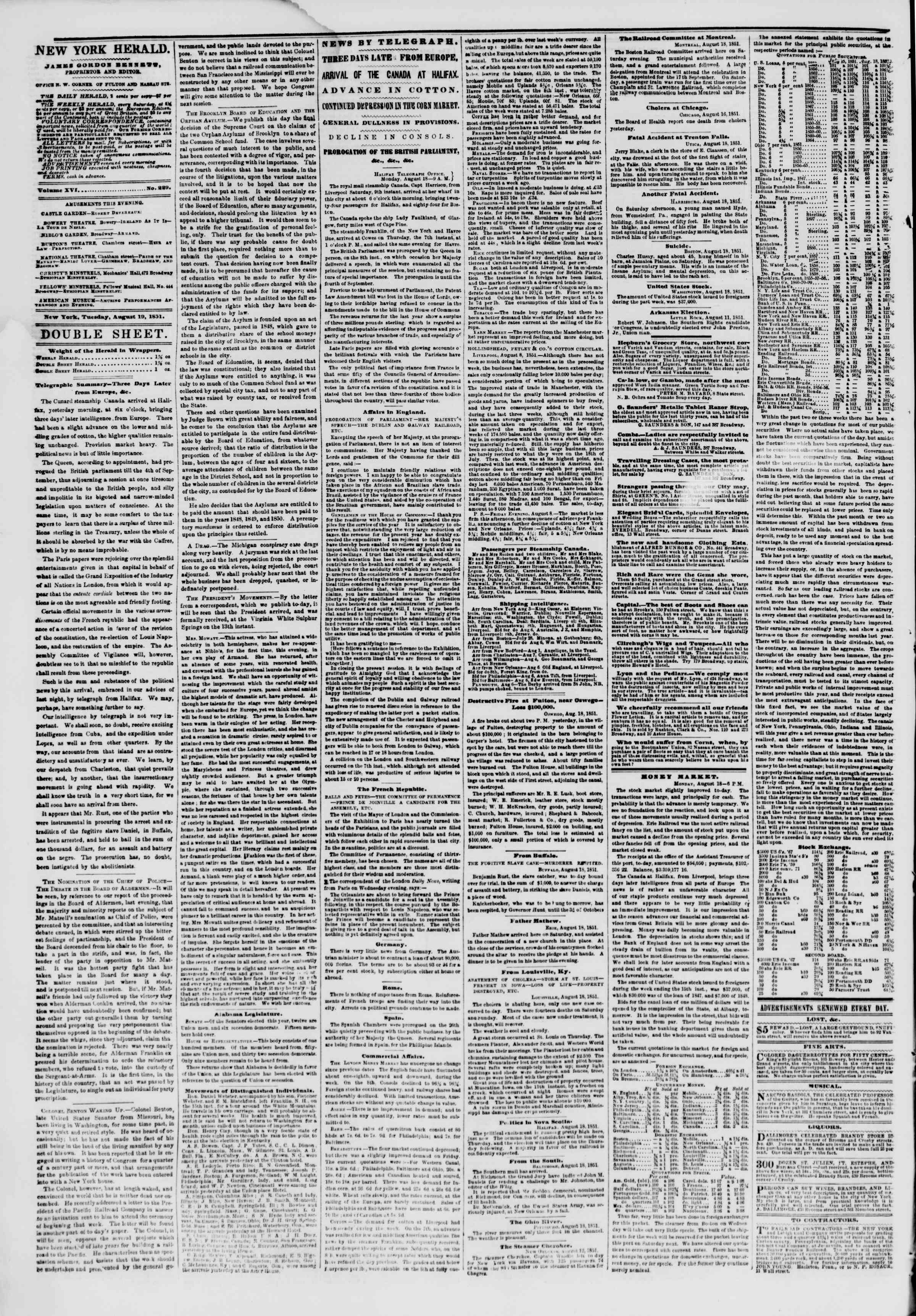 Newspaper of The New York Herald dated August 19, 1851 Page 4