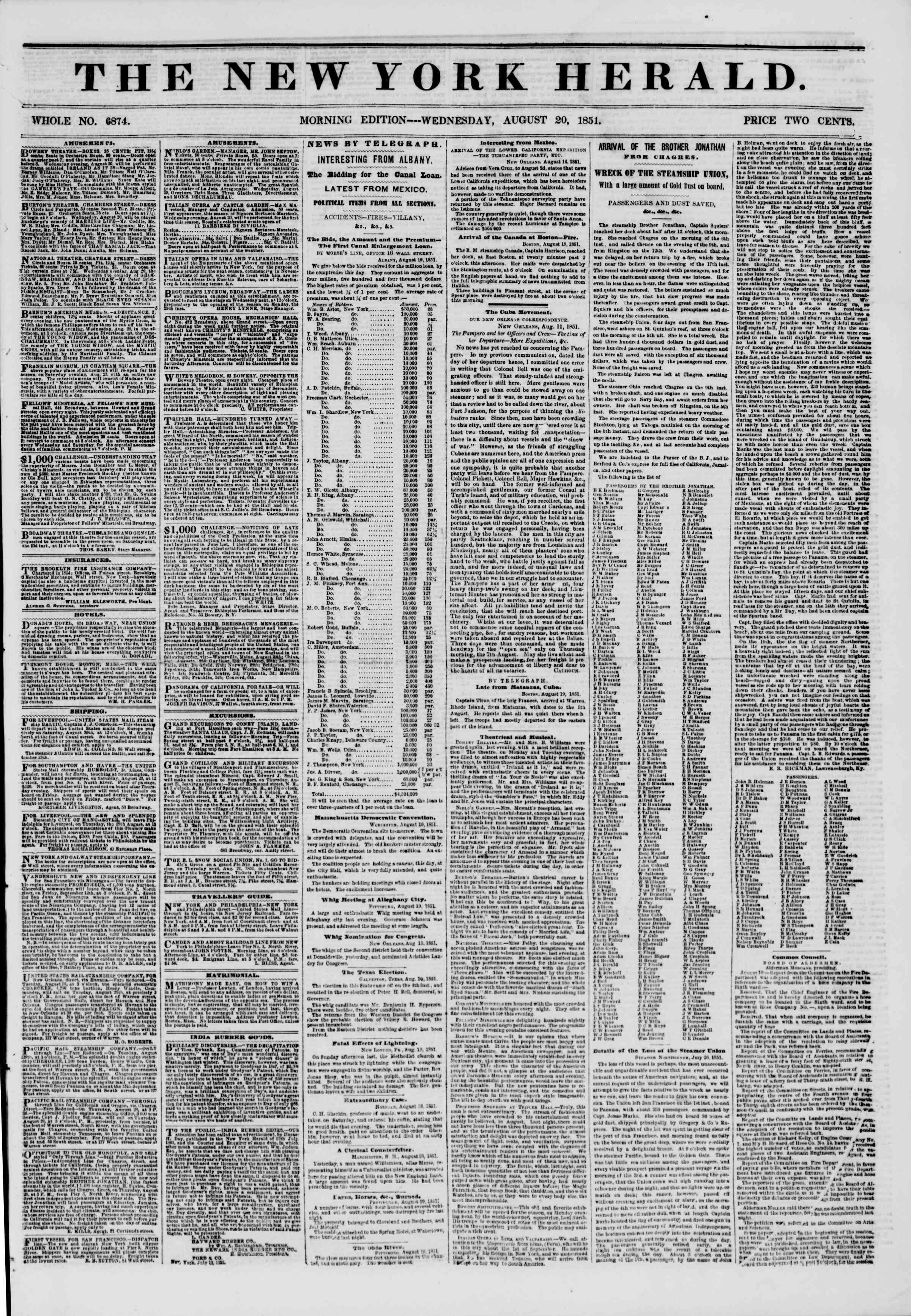 Newspaper of The New York Herald dated August 20, 1851 Page 1