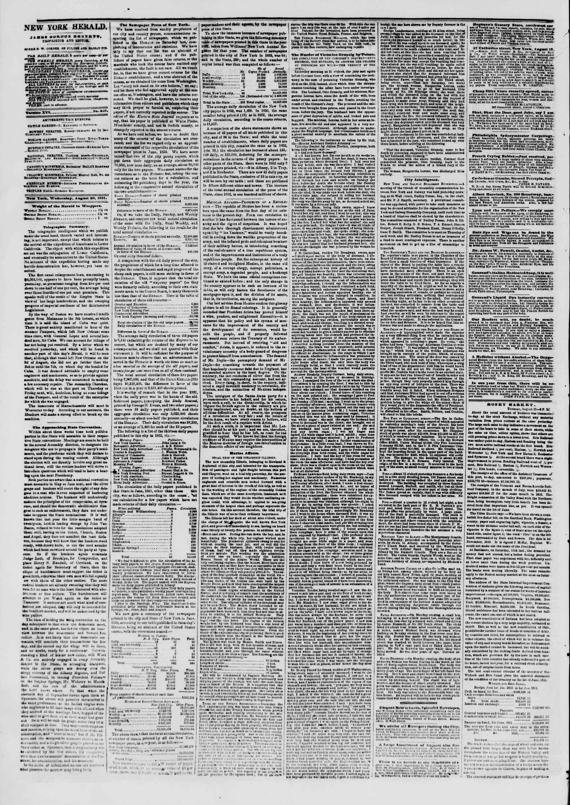 Newspaper of The New York Herald dated 20 Ağustos 1851 Page 2