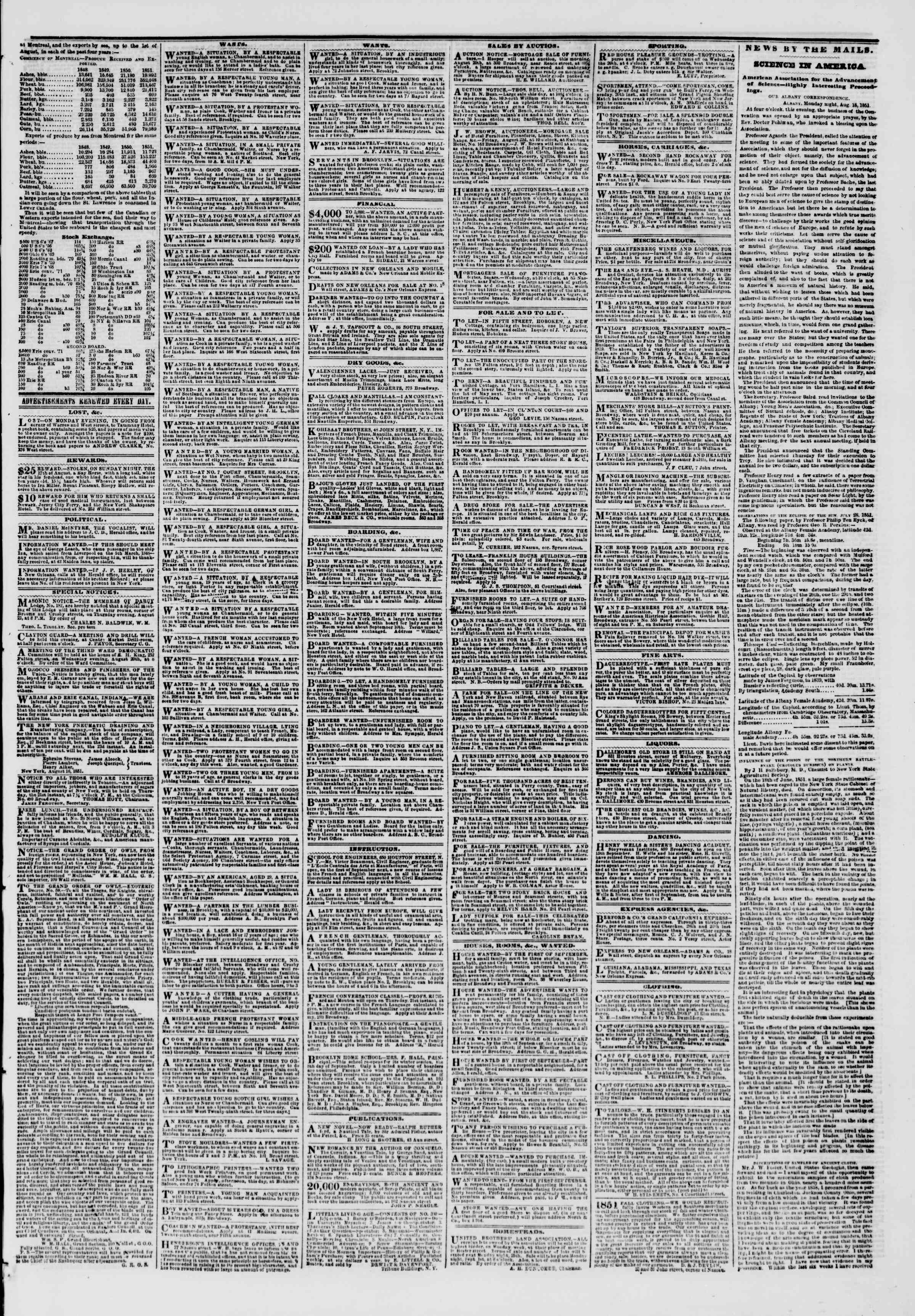 Newspaper of The New York Herald dated August 20, 1851 Page 3