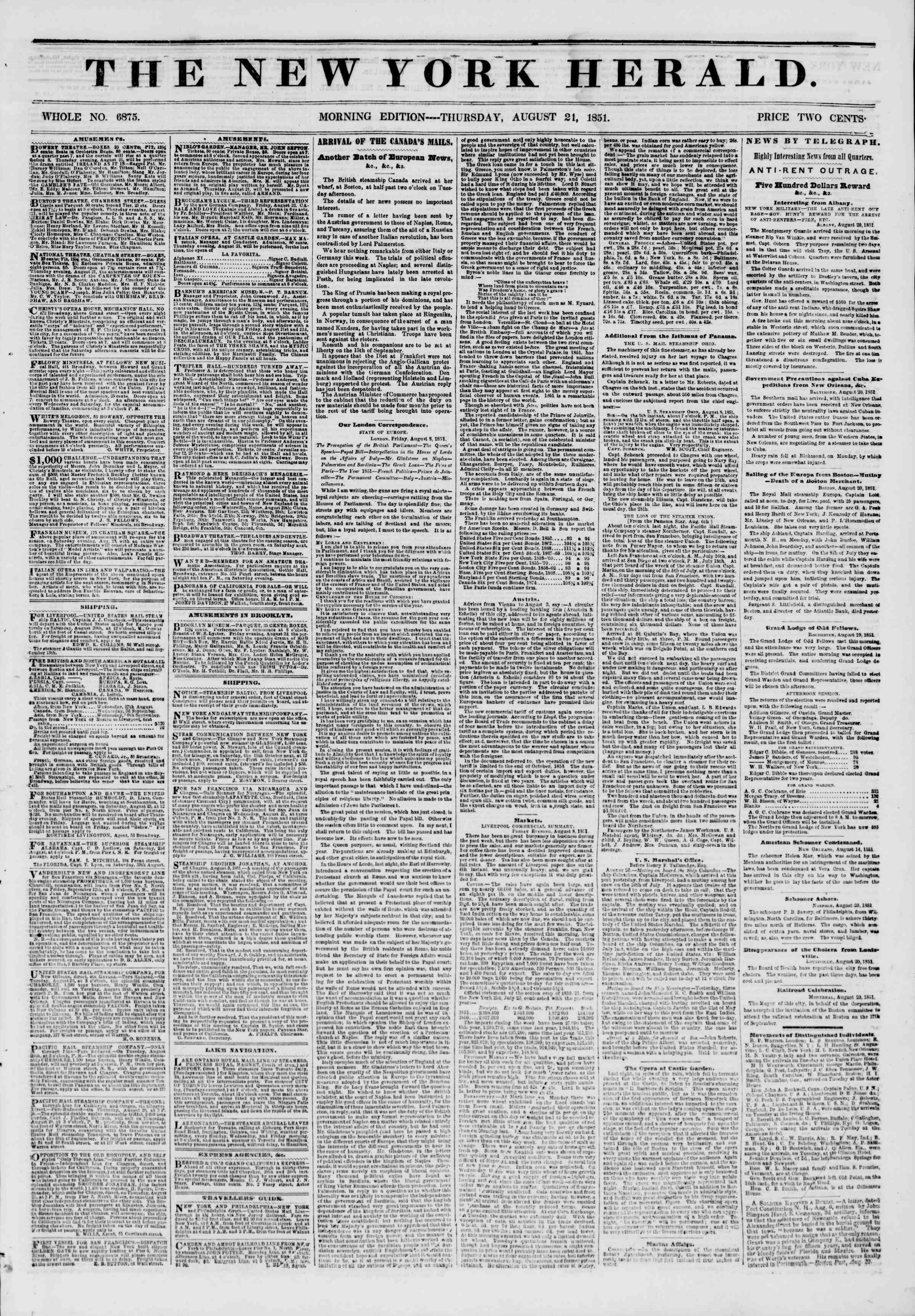 Newspaper of The New York Herald dated August 21, 1851 Page 1