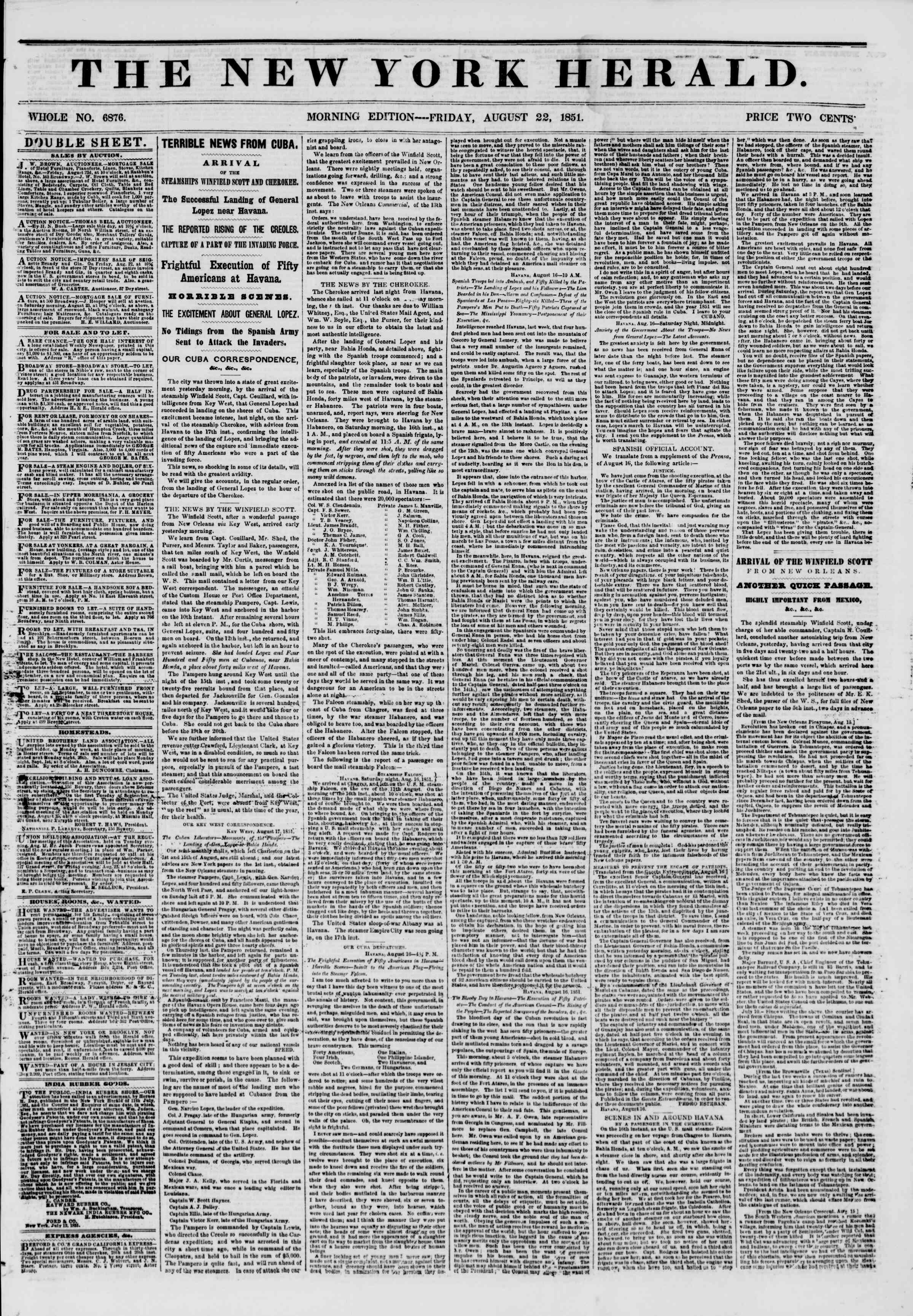 Newspaper of The New York Herald dated 22 Ağustos 1851 Page 1