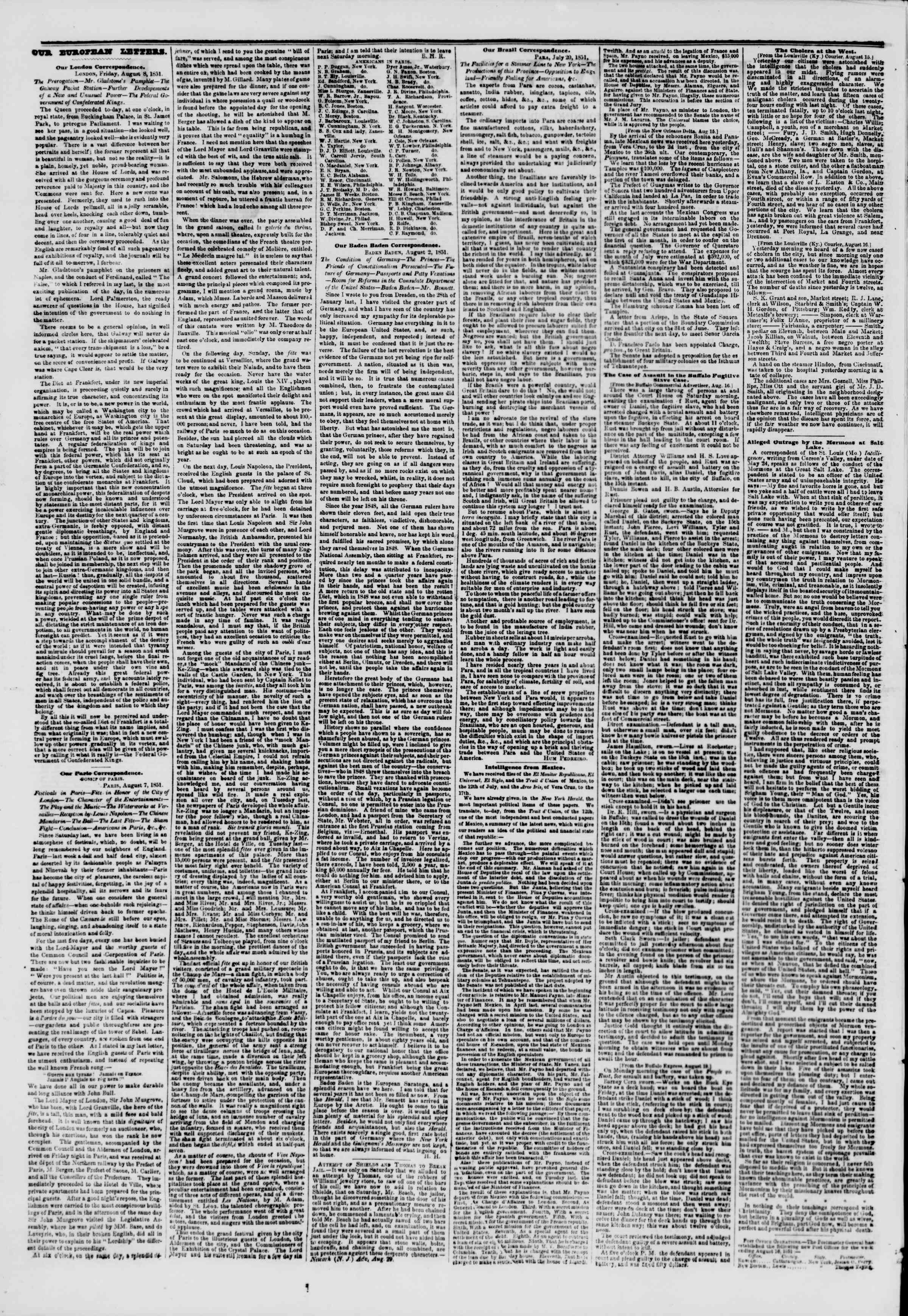 Newspaper of The New York Herald dated August 22, 1851 Page 2