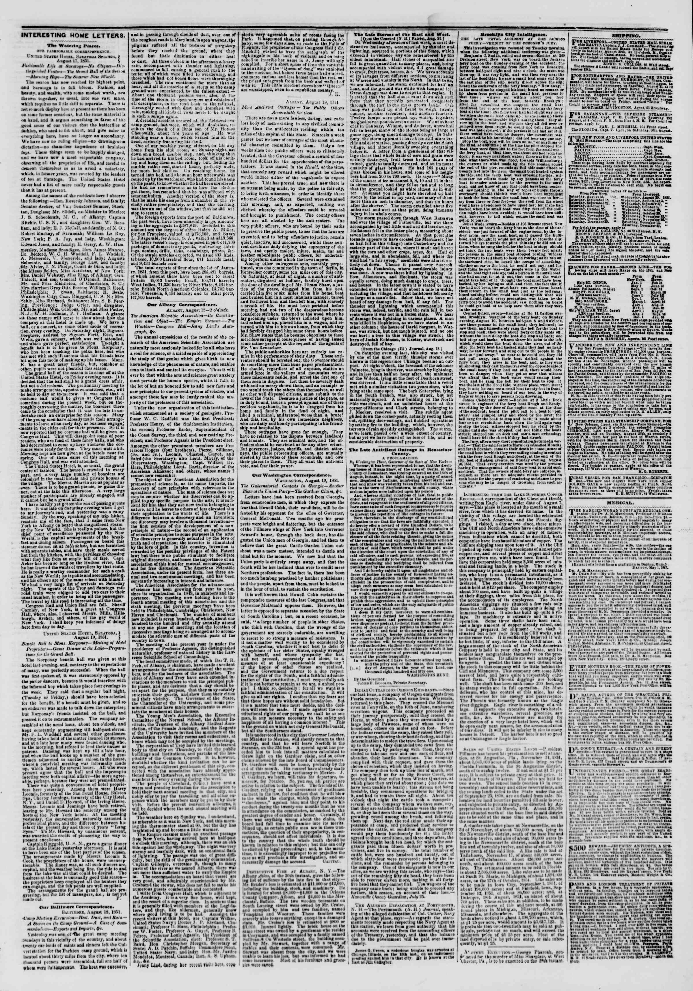 Newspaper of The New York Herald dated August 22, 1851 Page 3