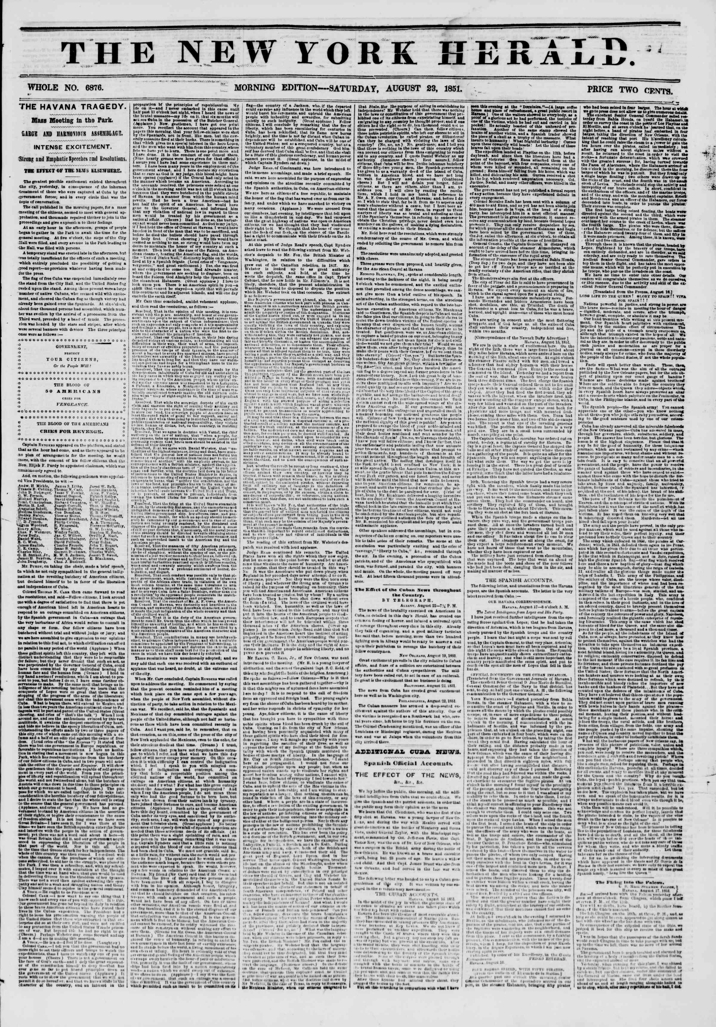 Newspaper of The New York Herald dated August 23, 1851 Page 1