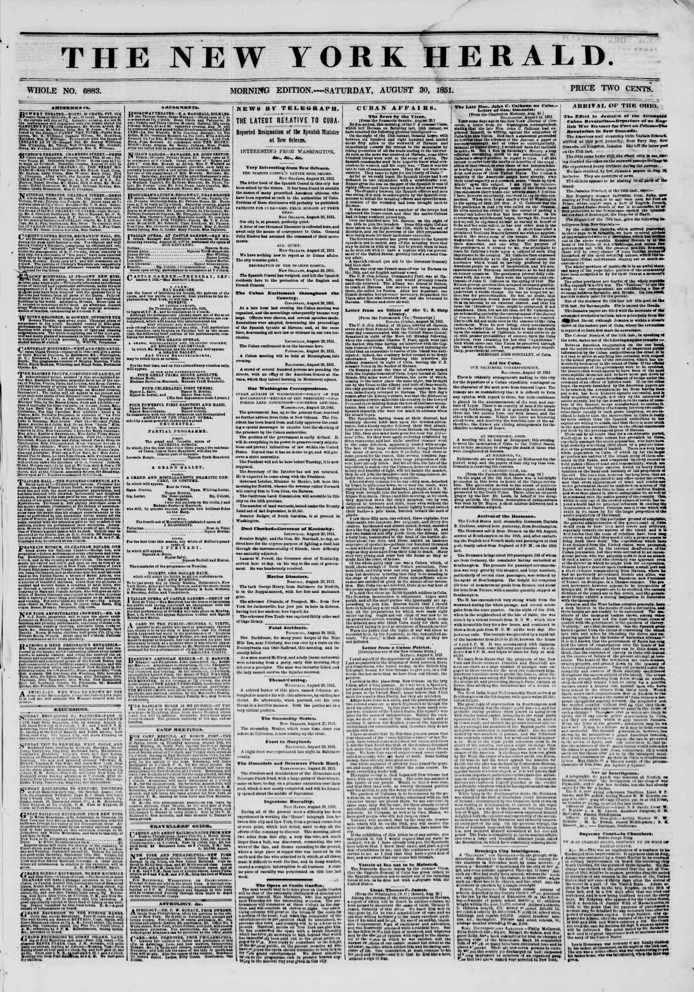 Newspaper of The New York Herald dated August 30, 1851 Page 1