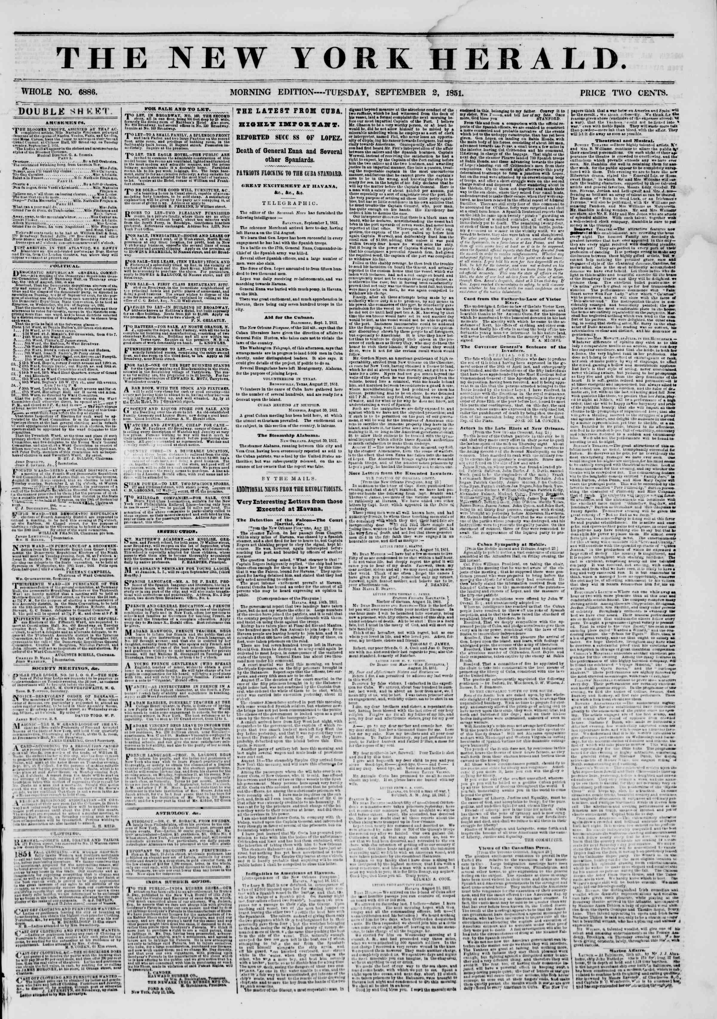 Newspaper of The New York Herald dated September 2, 1851 Page 1