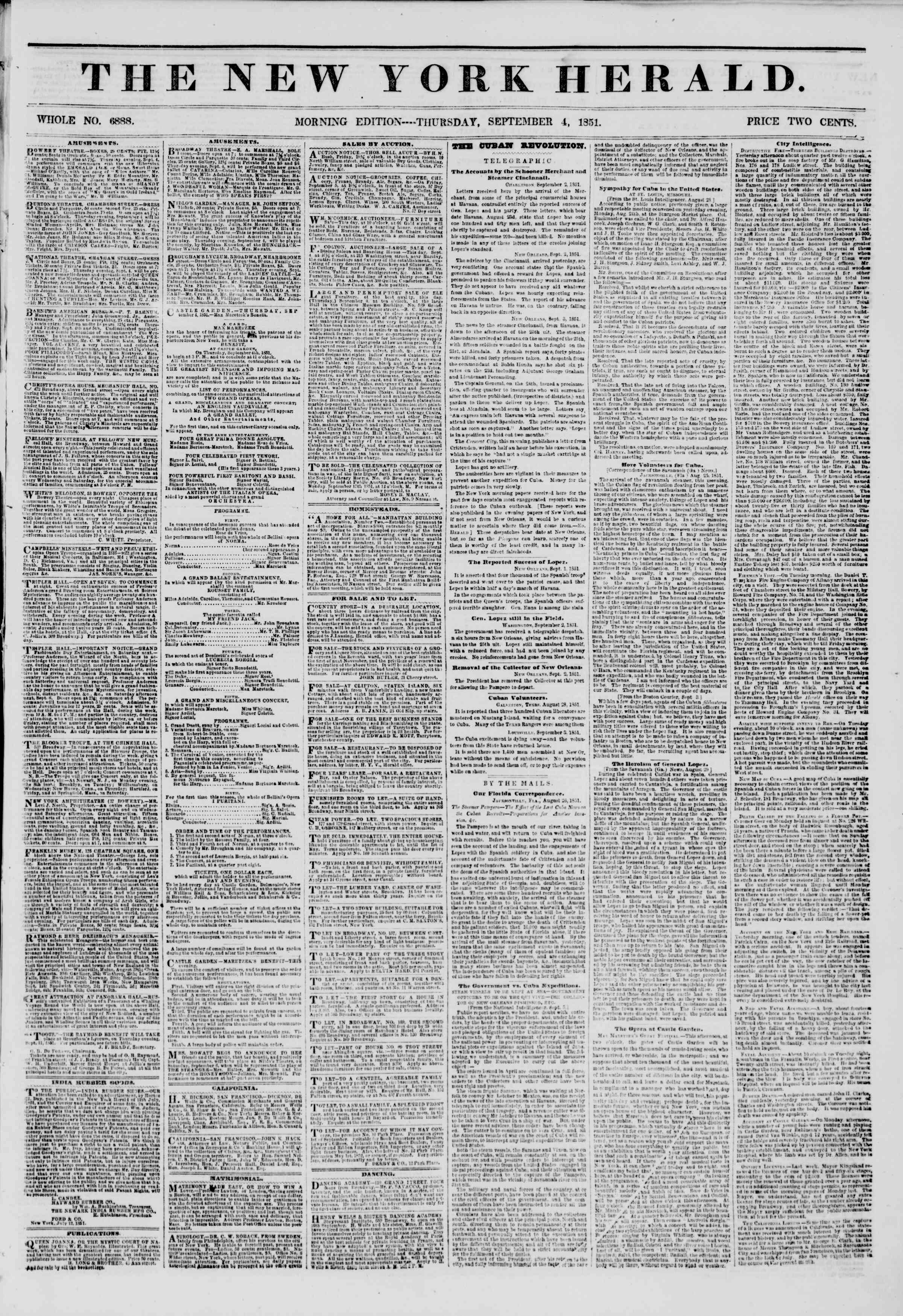 Newspaper of The New York Herald dated September 4, 1851 Page 1