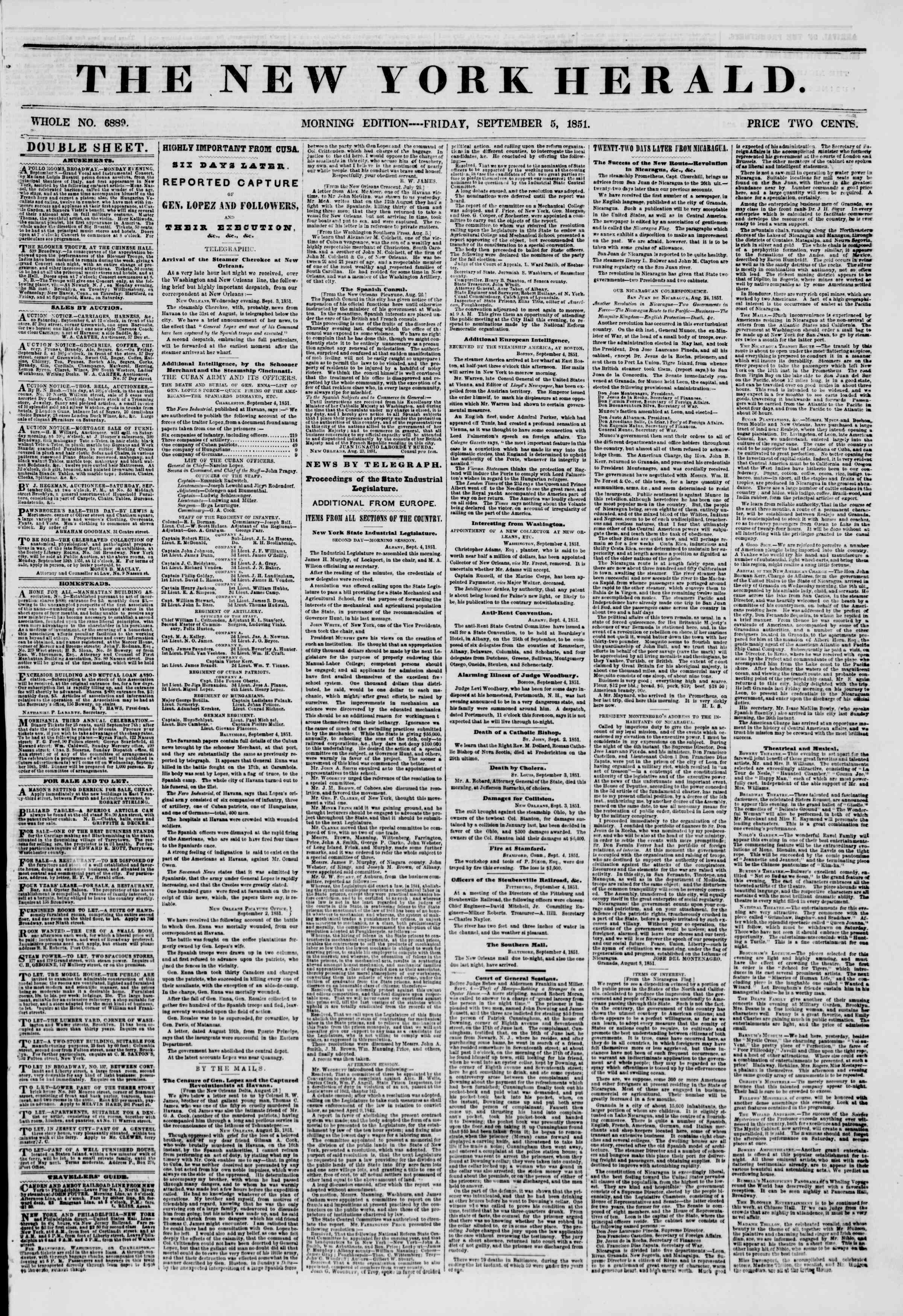 Newspaper of The New York Herald dated September 5, 1851 Page 1