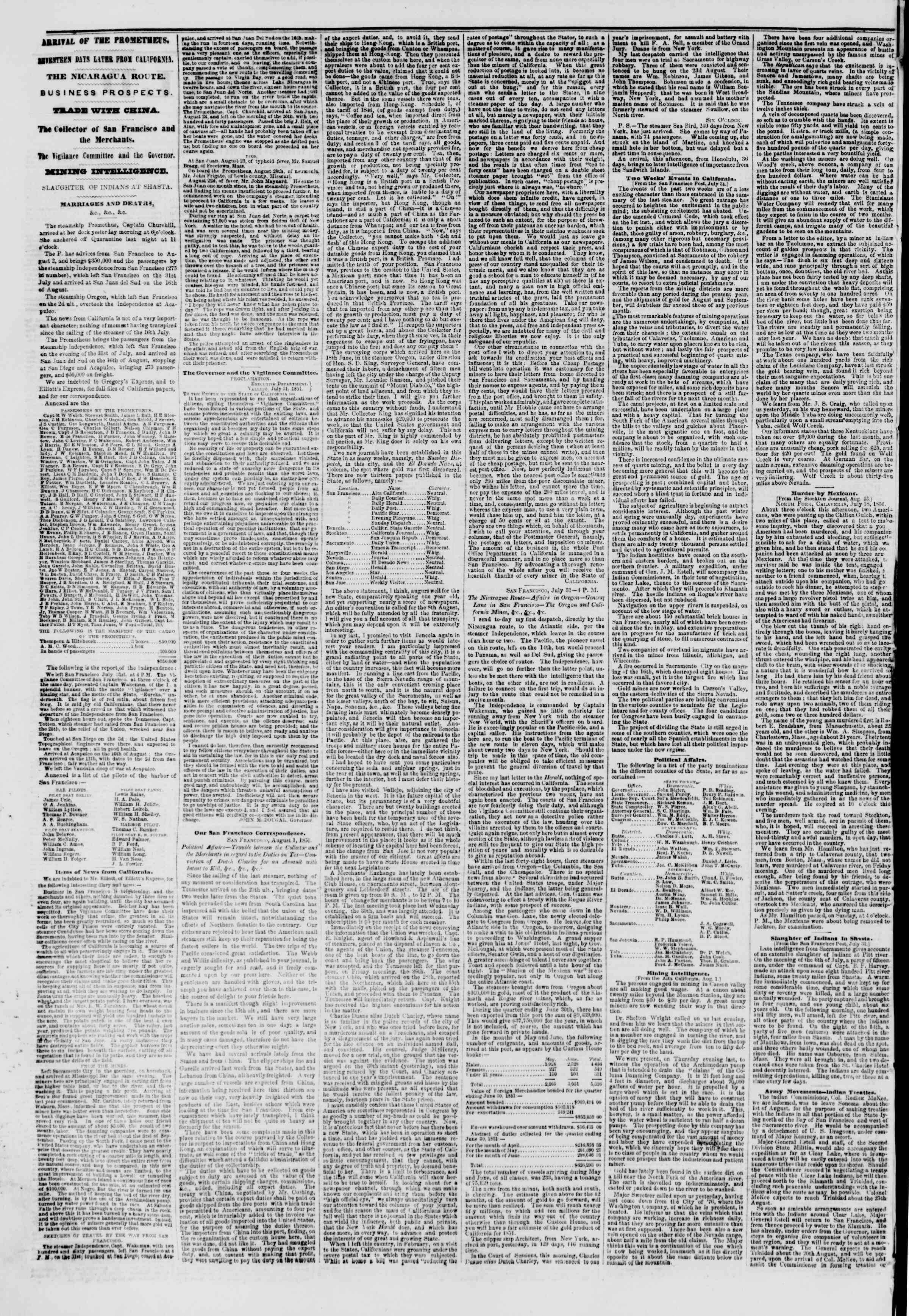 Newspaper of The New York Herald dated September 5, 1851 Page 2