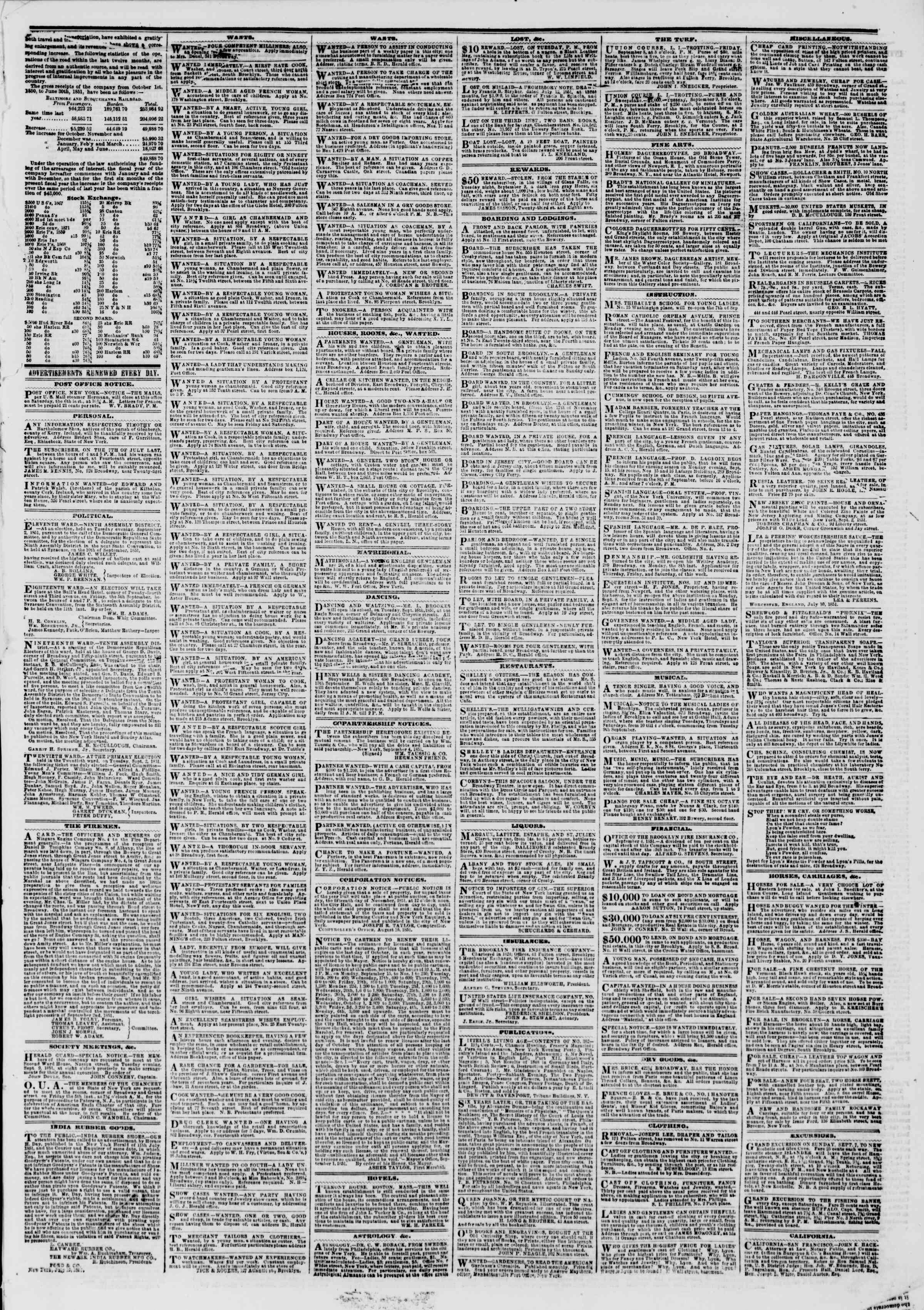 Newspaper of The New York Herald dated September 5, 1851 Page 5