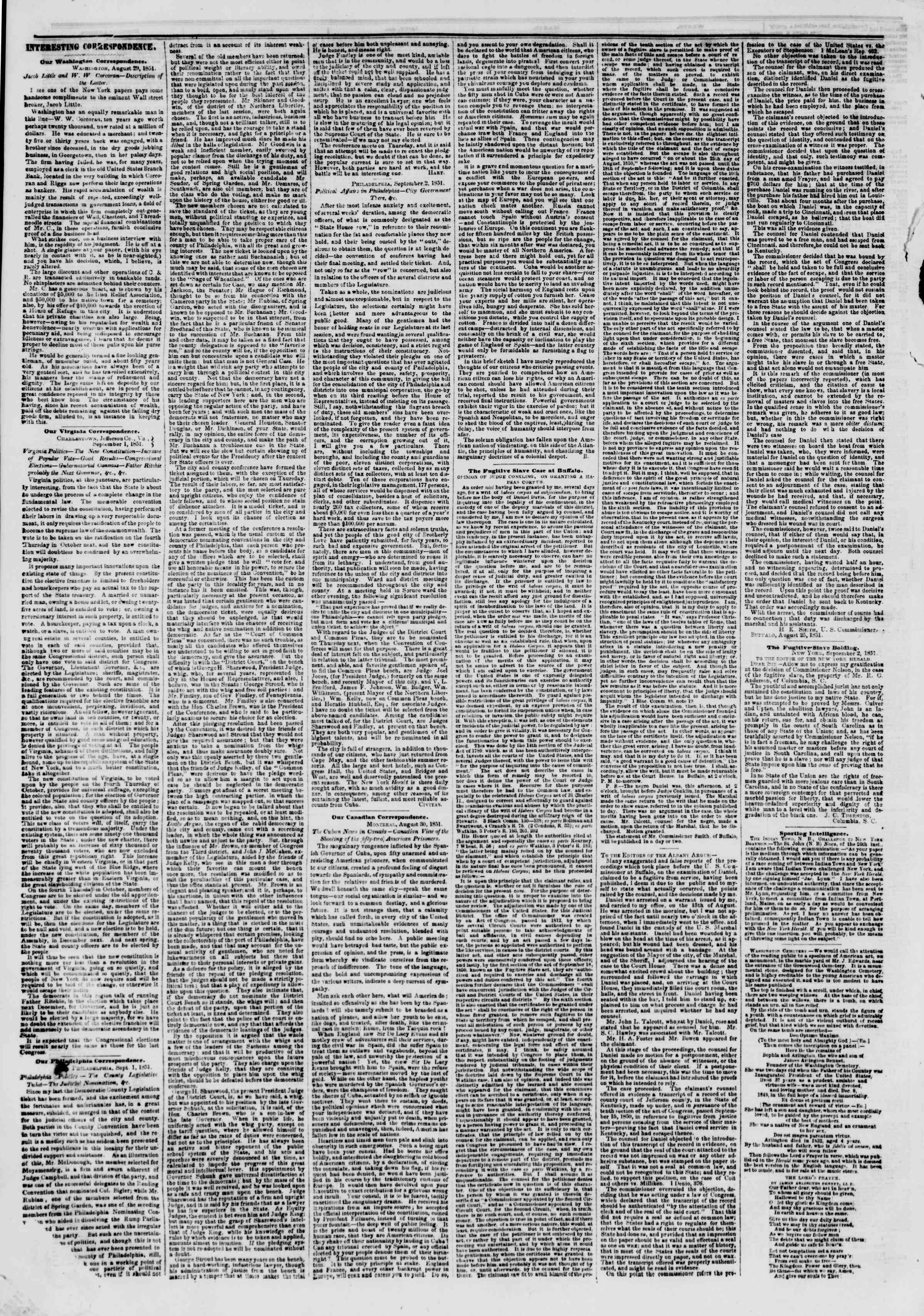 Newspaper of The New York Herald dated September 5, 1851 Page 6