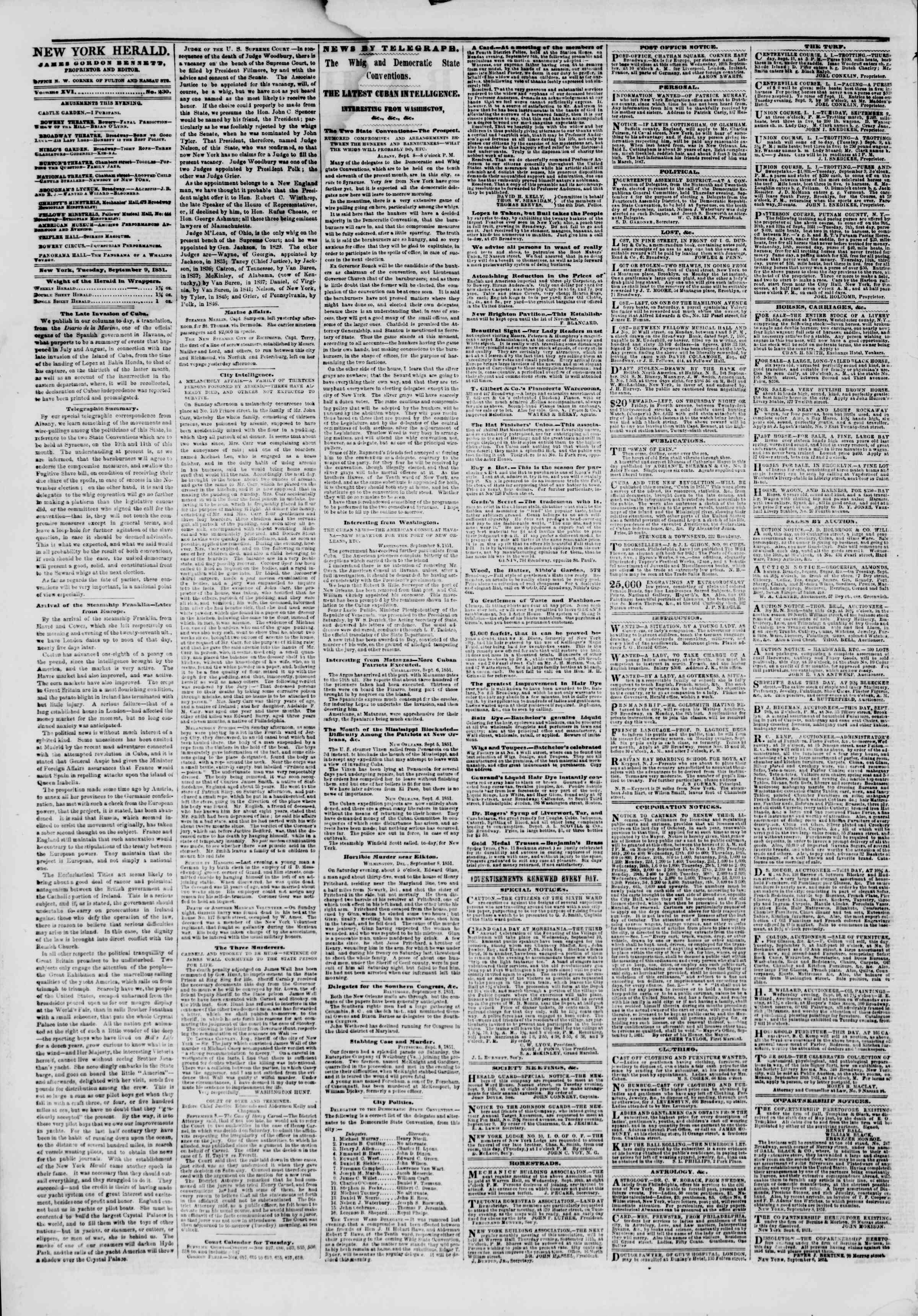 Newspaper of The New York Herald dated September 9, 1851 Page 2