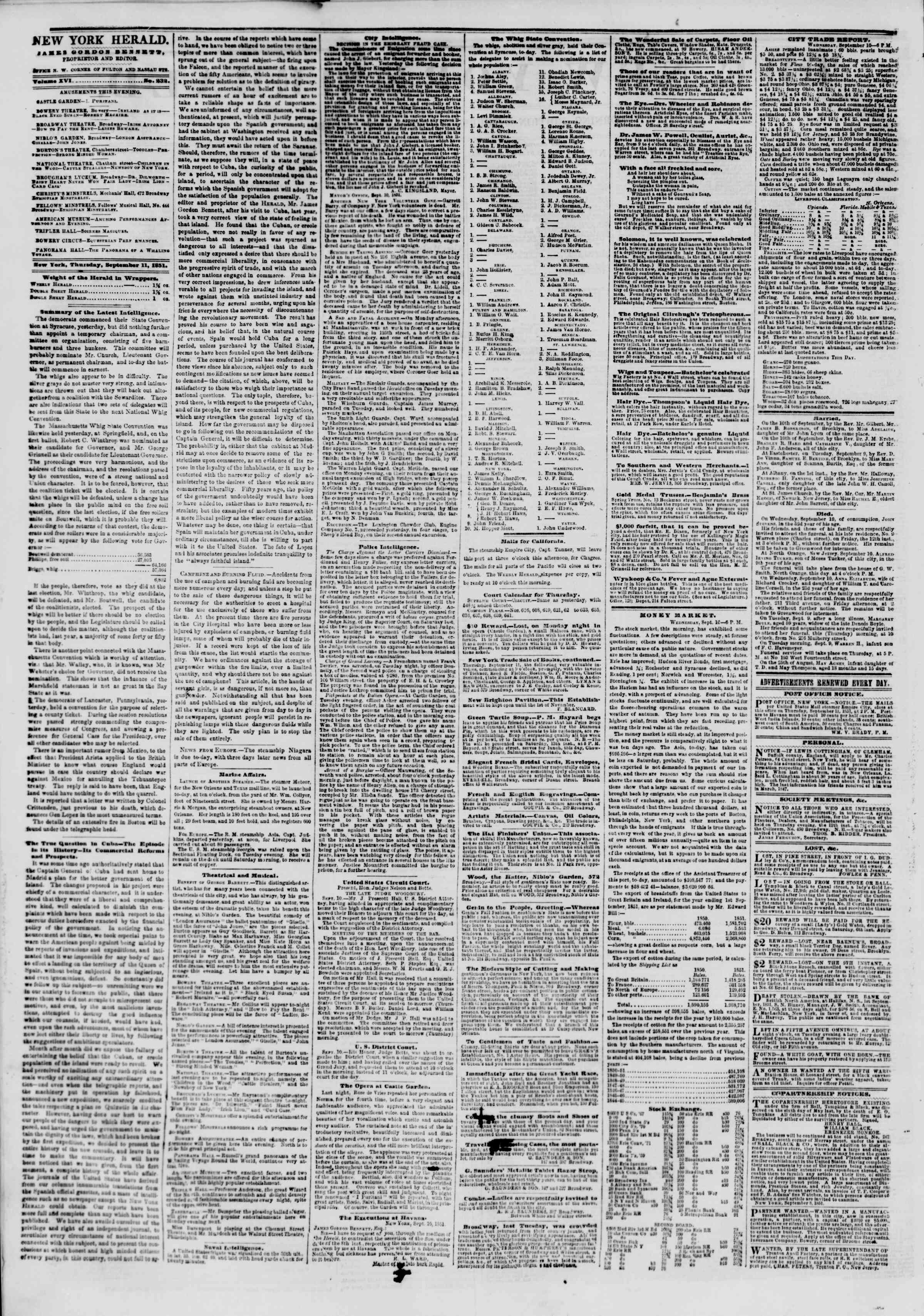 Newspaper of The New York Herald dated September 11, 1851 Page 2