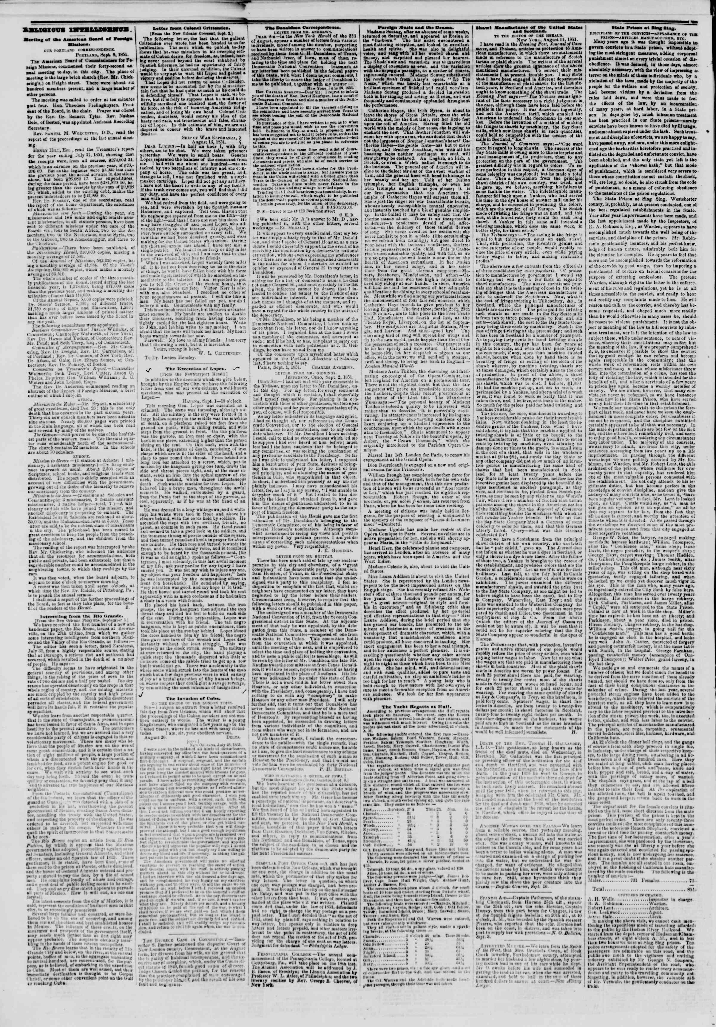 Newspaper of The New York Herald dated September 12, 1851 Page 2
