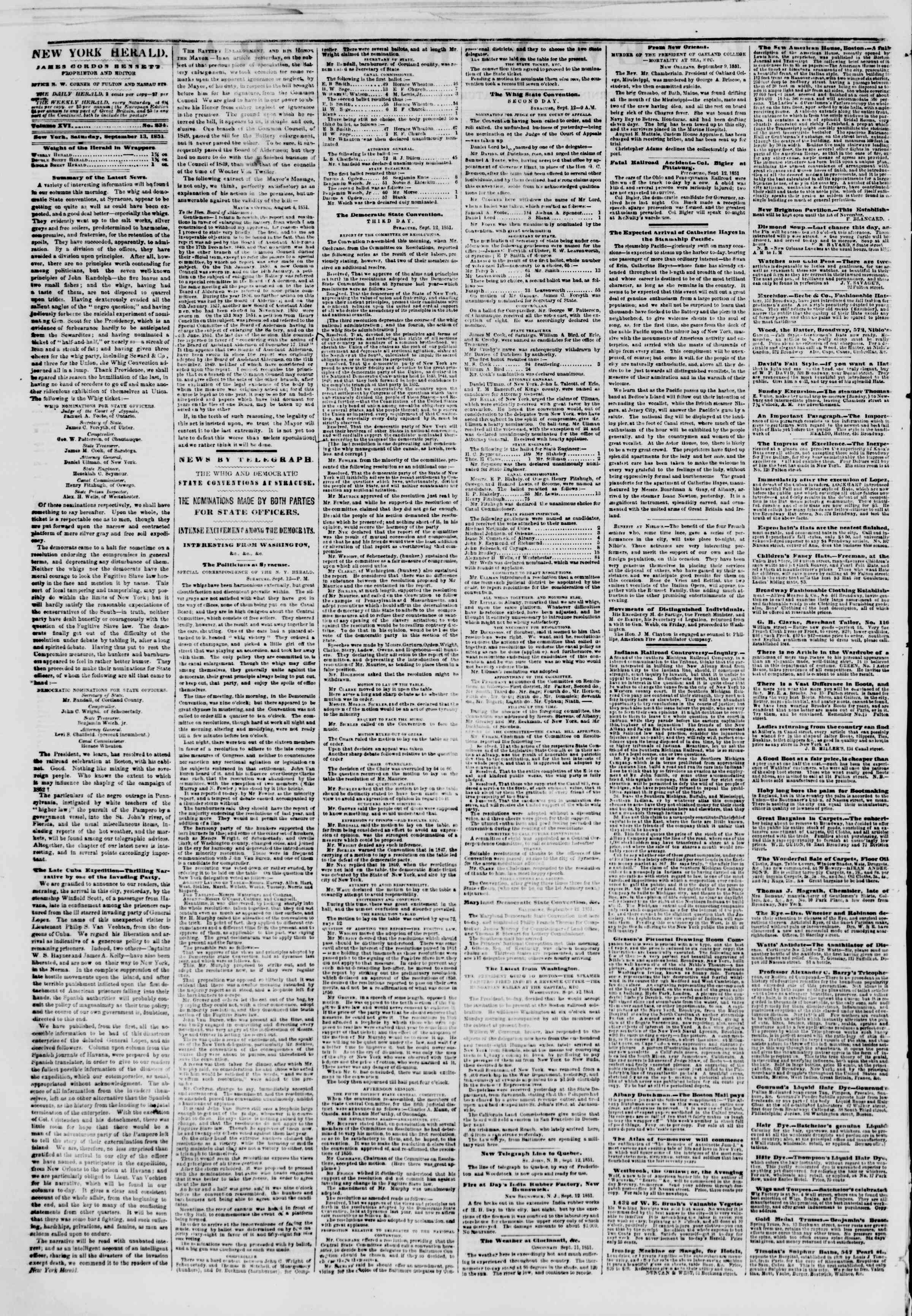Newspaper of The New York Herald dated September 13, 1851 Page 2