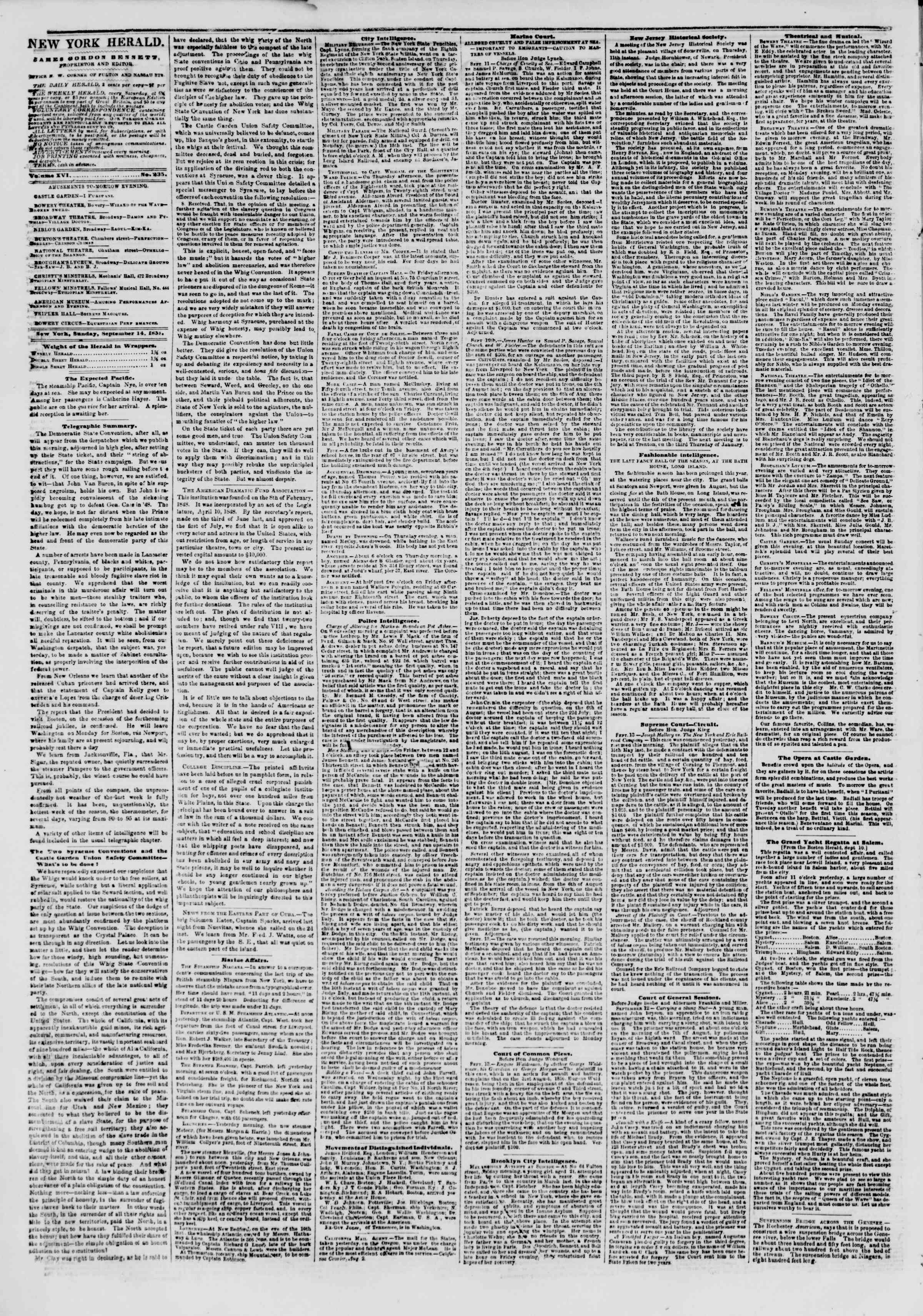 Newspaper of The New York Herald dated September 14, 1851 Page 2