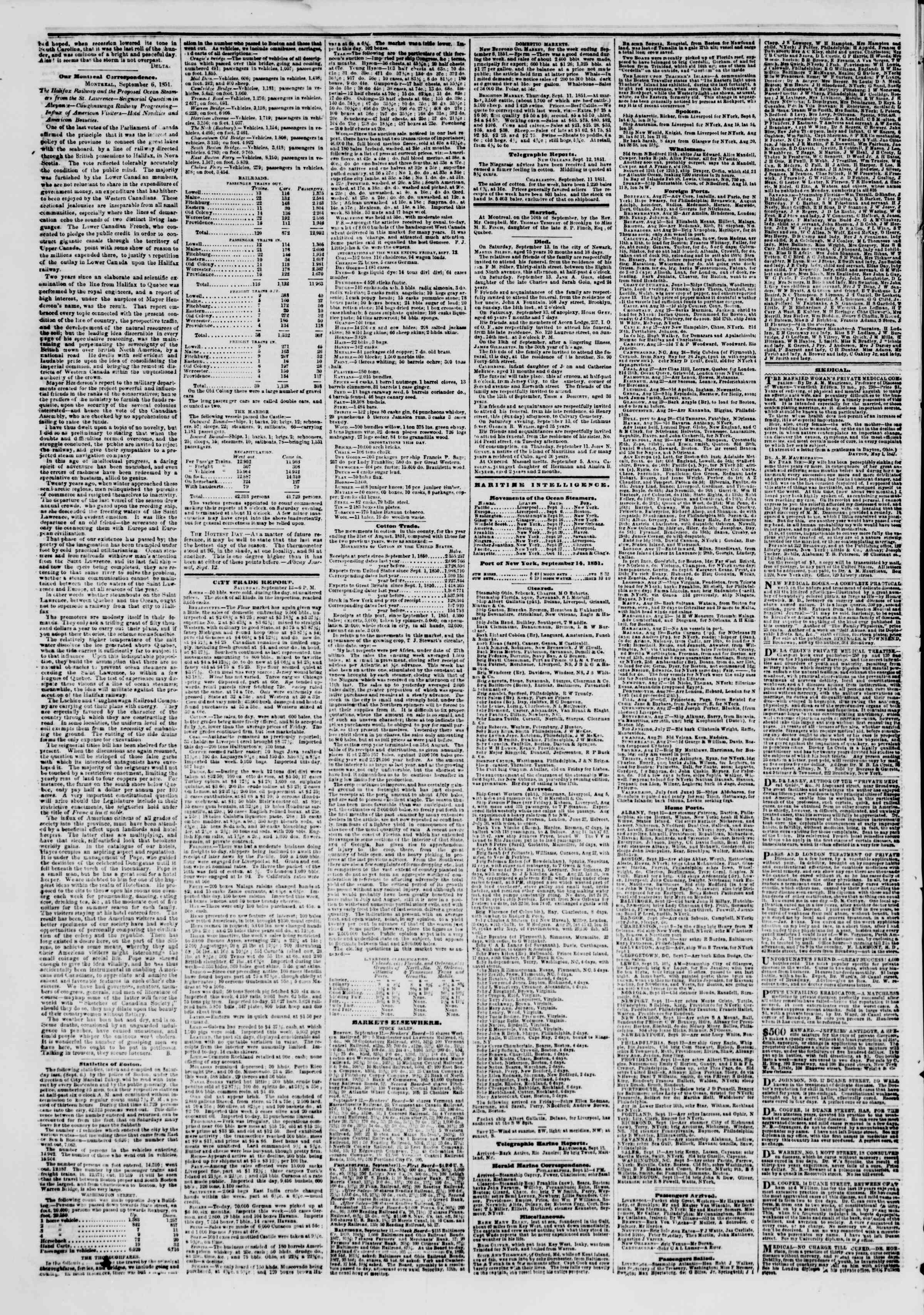 Newspaper of The New York Herald dated September 14, 1851 Page 4