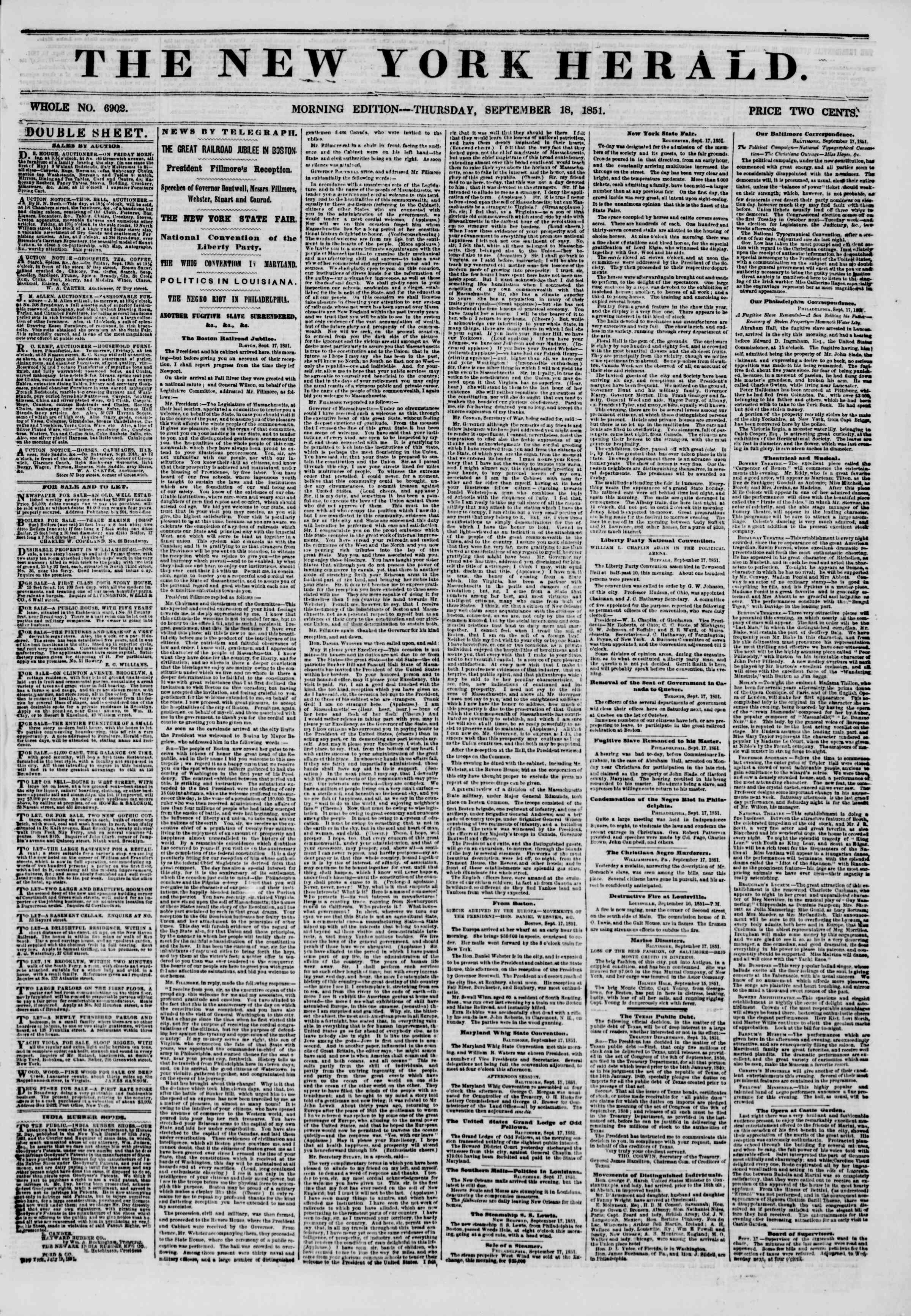 Newspaper of The New York Herald dated September 18, 1851 Page 1